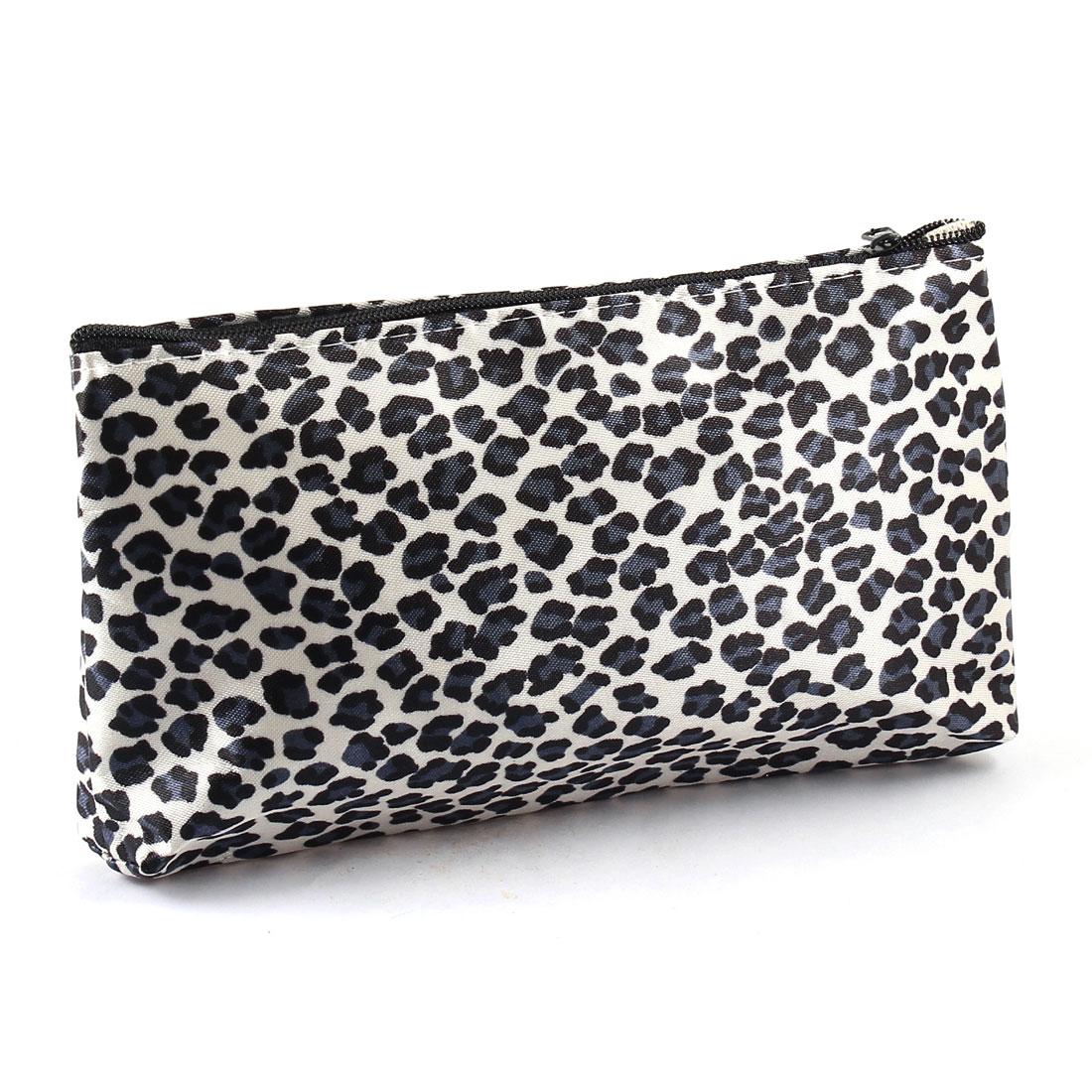 Lady Leopard Print Zipper Closure Cosmetic Makeup Bag Case Black Grey w Mirror