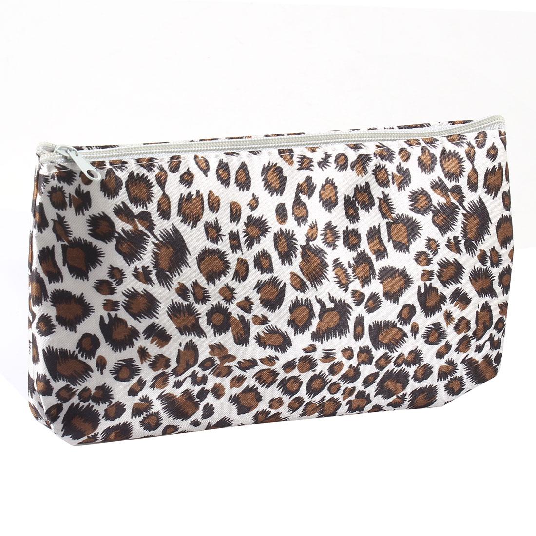 Black Brown Leopard Print White Zipper Closure Cosmetic Makeup Bag Case