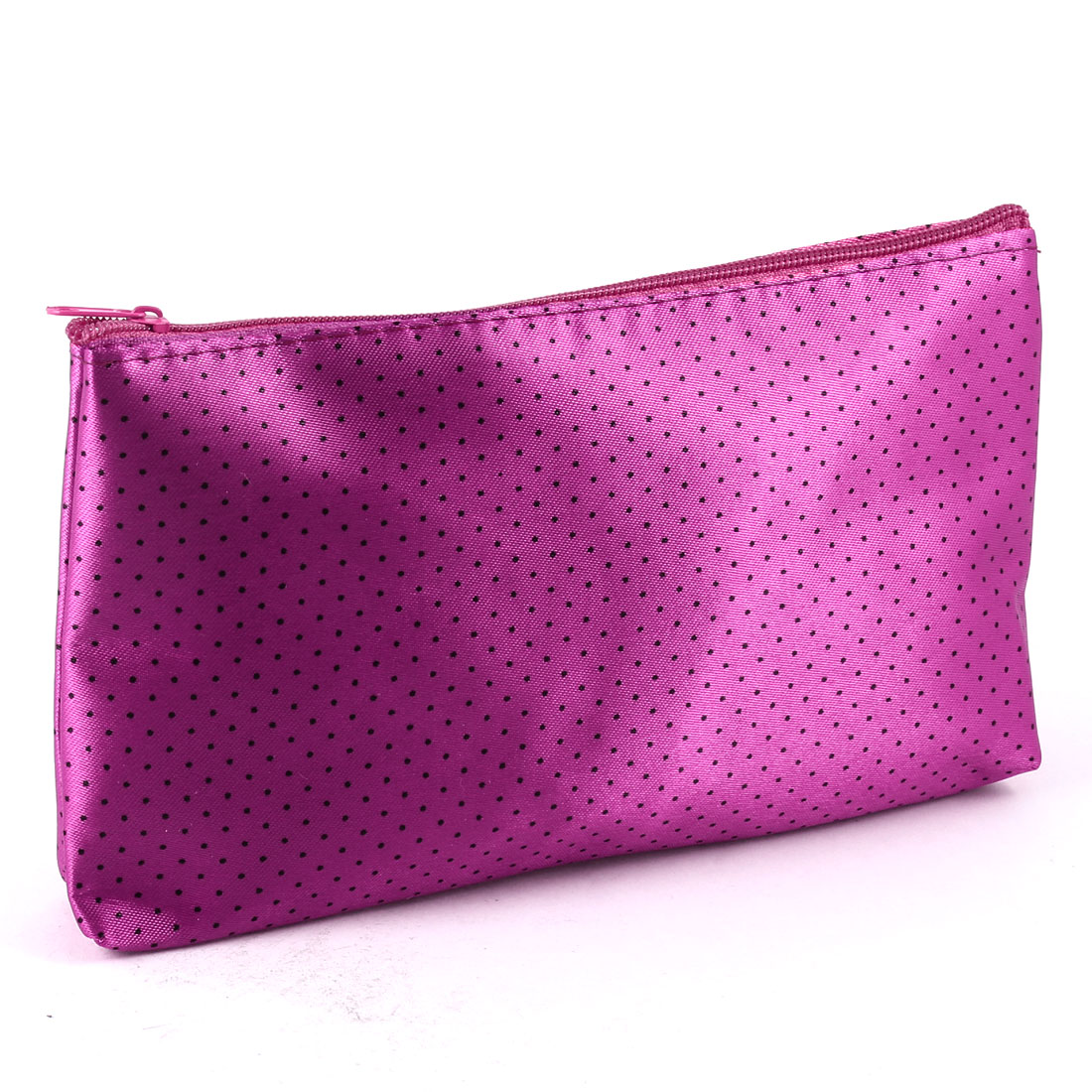 Lady Black Dotted Pattern Magenta Zip Up Cosmetic Makeup Bag Case