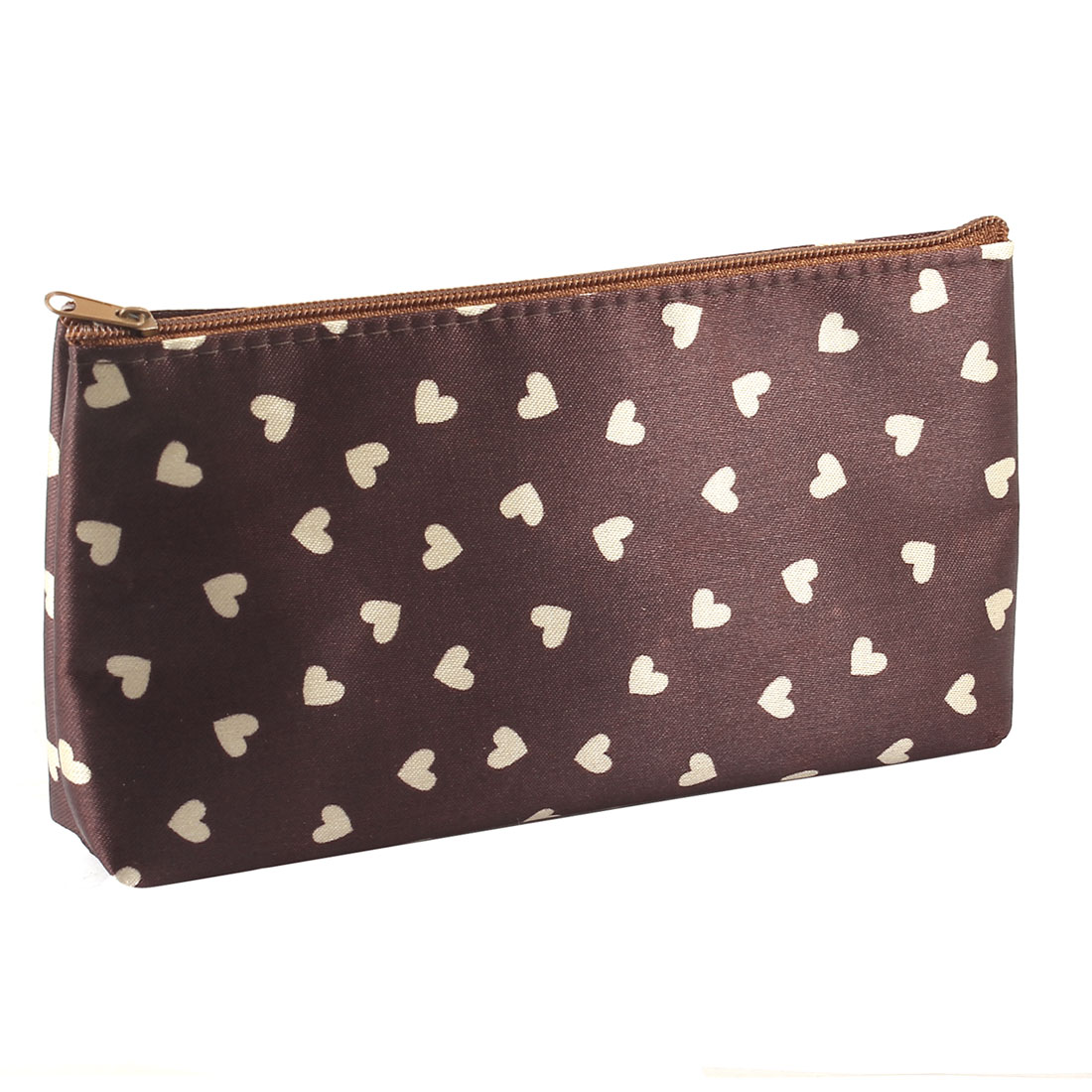 White Heart Print Brown Zipper Closure Cosmetic Makeup Bag Case w Mirror