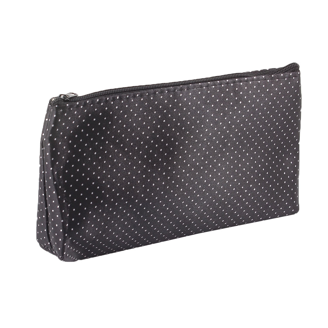 Lady White Polka Dot Print Black Zip Up Cosmetic Makeup Bag Case