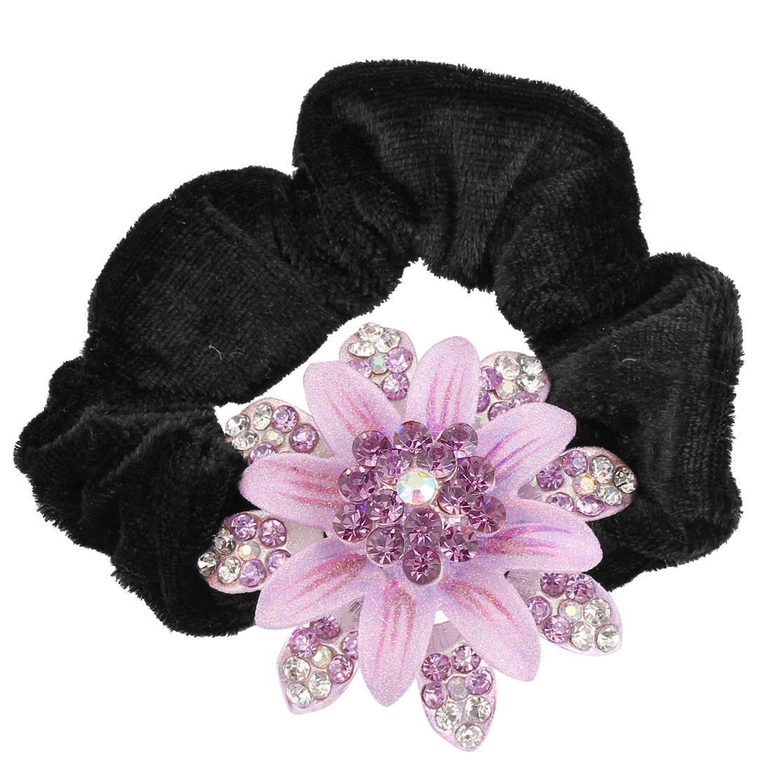 Glittery Faux Rhinestone Purple Silver Tone Flower Black Velvet Ponytail Holder