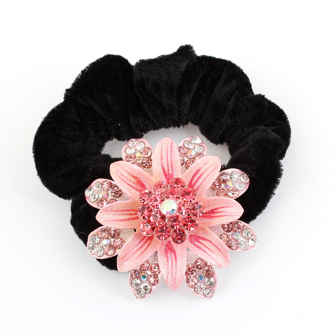 Faux Rhinestone Decor Two Layer Pink Flower Black Ponytail Holder for Women