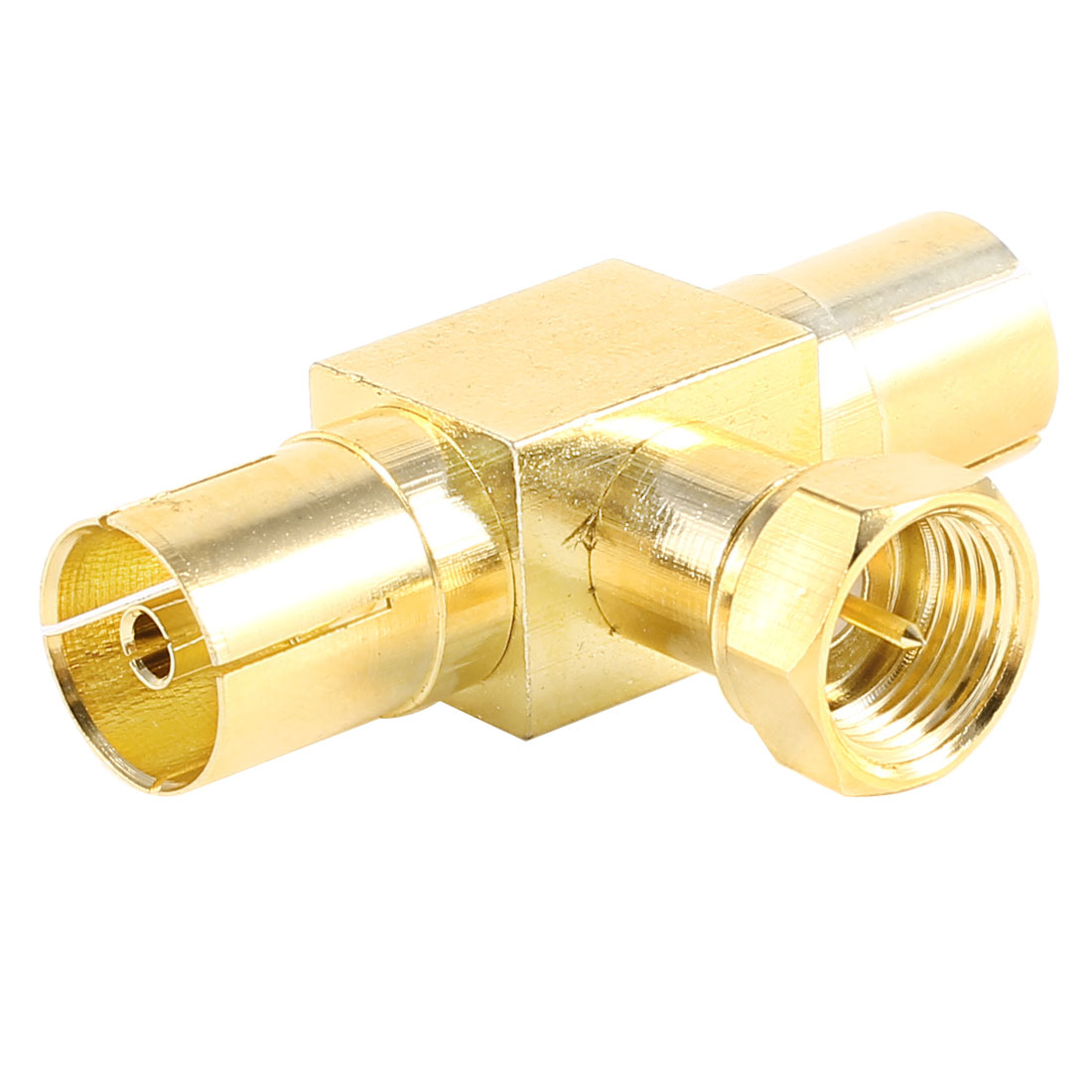 F Type Male to Dual TV PAL Female RF Connector Coupler Coaxial Adapter