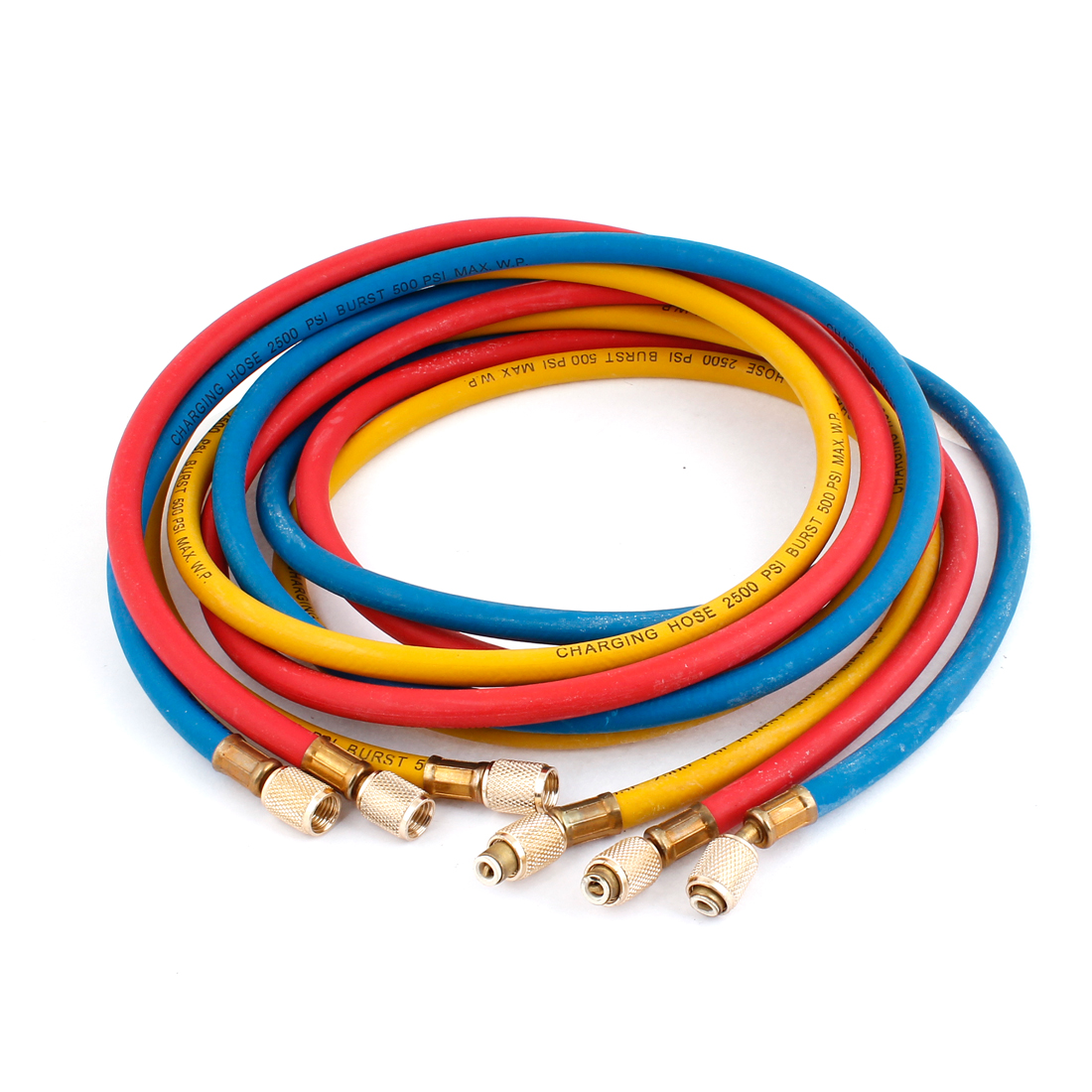 "Yellow Blue Red 67"" Long Air Conditioning Refrigerant Charging Hoses 3 Pcs"