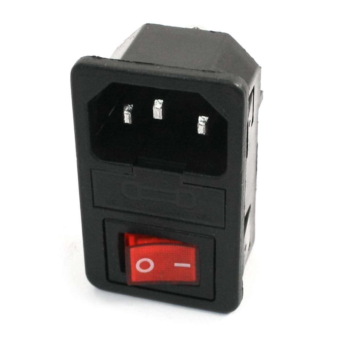 AC 250V 10A Rocker Switch 3 P IEC320 C14 Inlet Male Power Socket