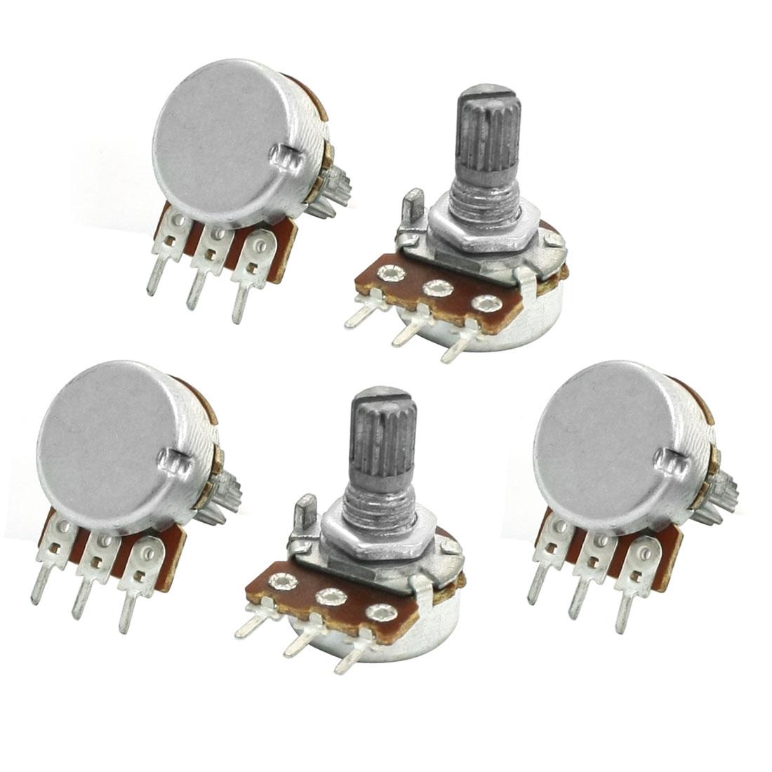 5pcs 6mm Shaft 3 Pin Pots Single Turn Adjustment Potentiometer 500K ohm