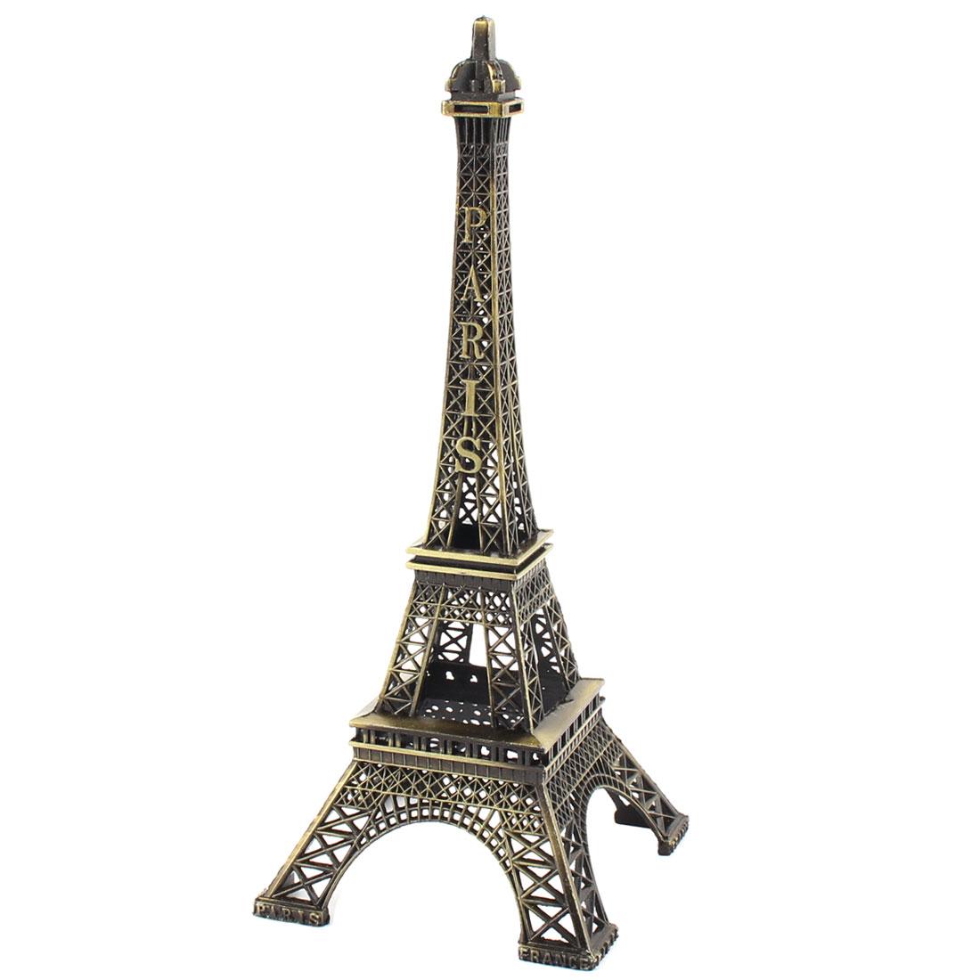 Paris Eiffel Tower Miniature Statue Model Decoration Bronze Tone 7.1 Inch High