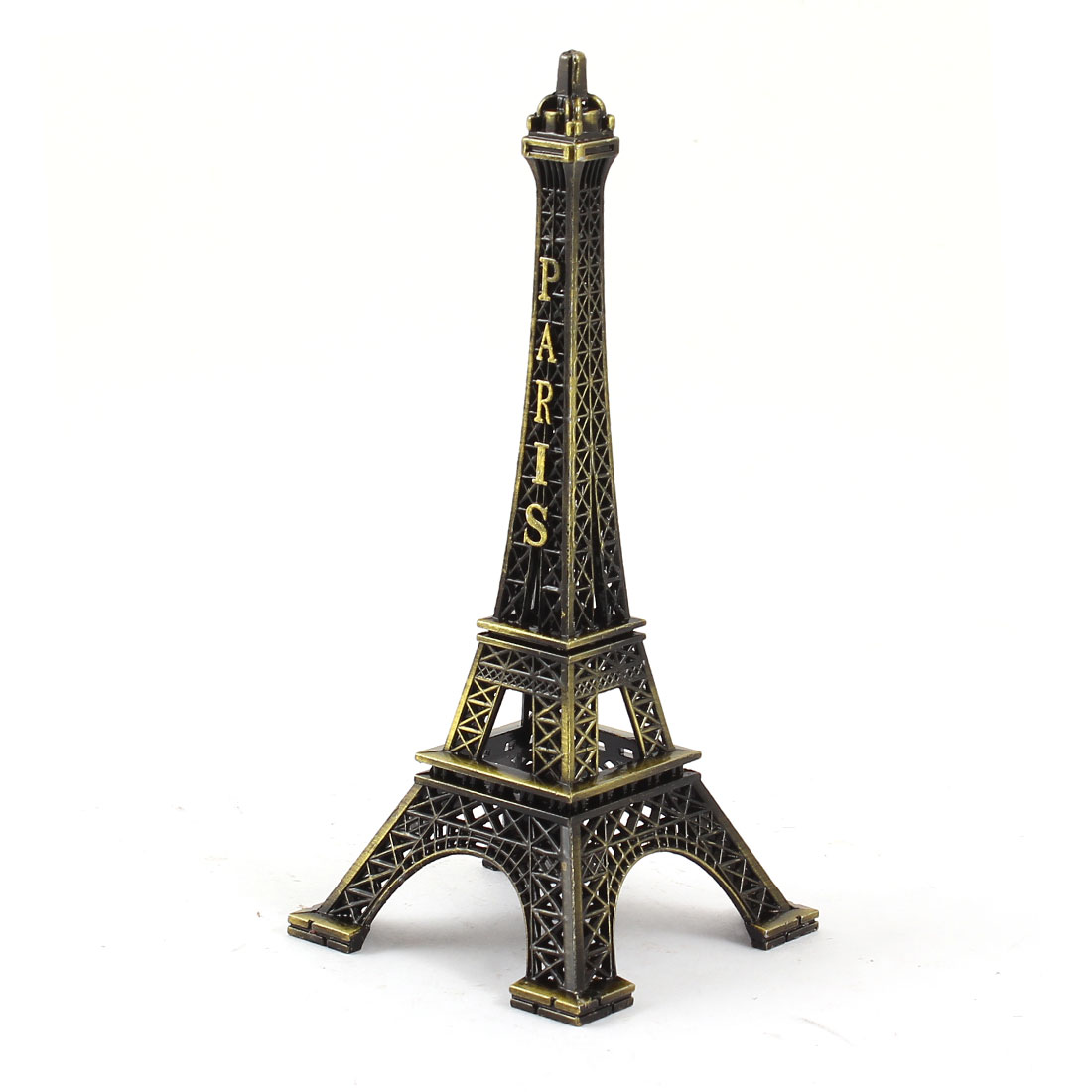 "Bronze Tone Metal France Miniature Paris Eiffel Tower Statue Model Ornament 5.1"" High"