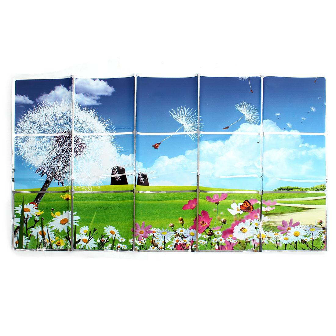 Kitchen Blue White Dandelion Sunflower Pattern Wall Sticker Decal 75cmx45cm