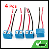 4 Pcs H7 Blue Ceramic Headlight Light Bulb Wire Connector Socket for Auto