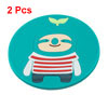 2 Pcs Round Silicone Cartoon Pattern Antislip Heat Resistant Cup Mat Pad Teal