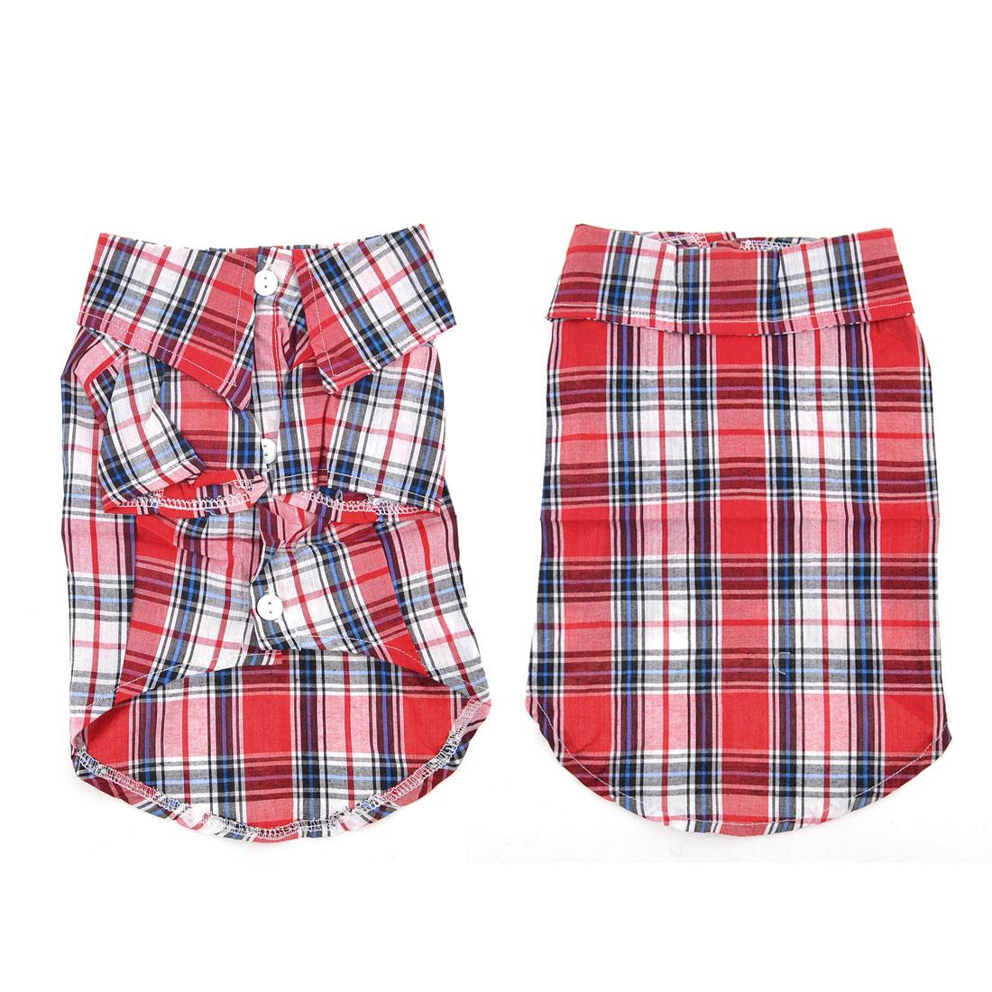 Red White Collar Three Button Plaid Pattern Pet Dog Tee Shirt Apparel Size M