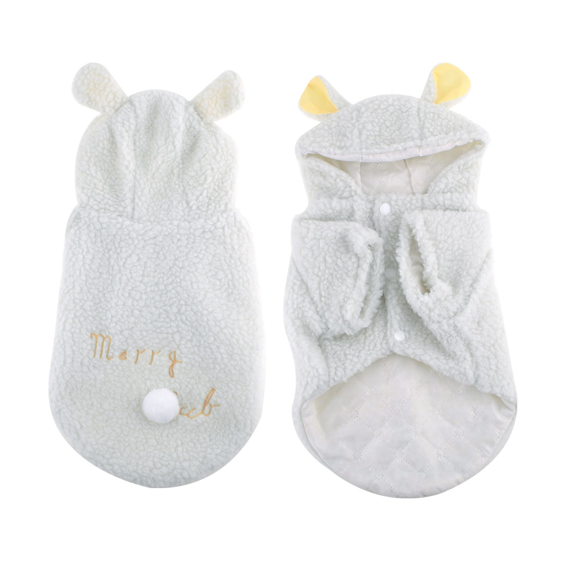 Pet Dog Puppy White Hooded Letter Print Press Stud Button Coat Apparel L
