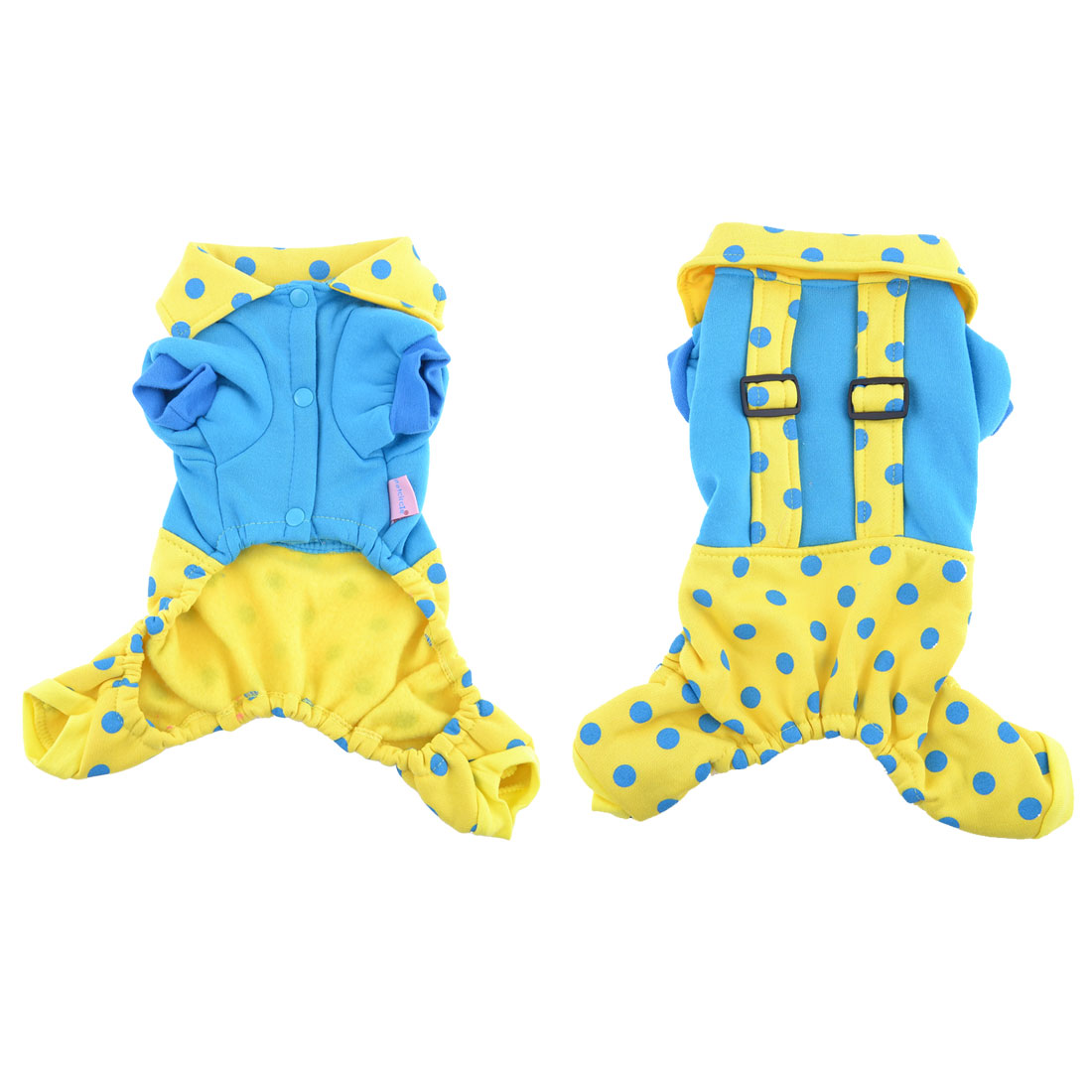 Yellow Dots Press Stud Button Collar Pet Dog Doggy Jumpsuit Suspenders M