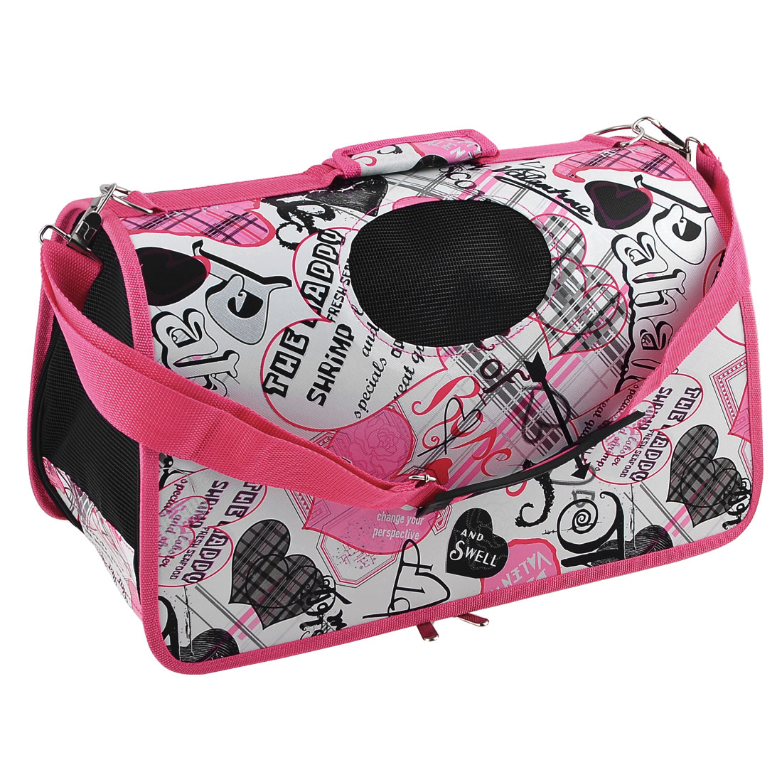 Heart Print Zip Closure Foldable Travel Carry Bag White Fuchsia for Pet Dog Cat