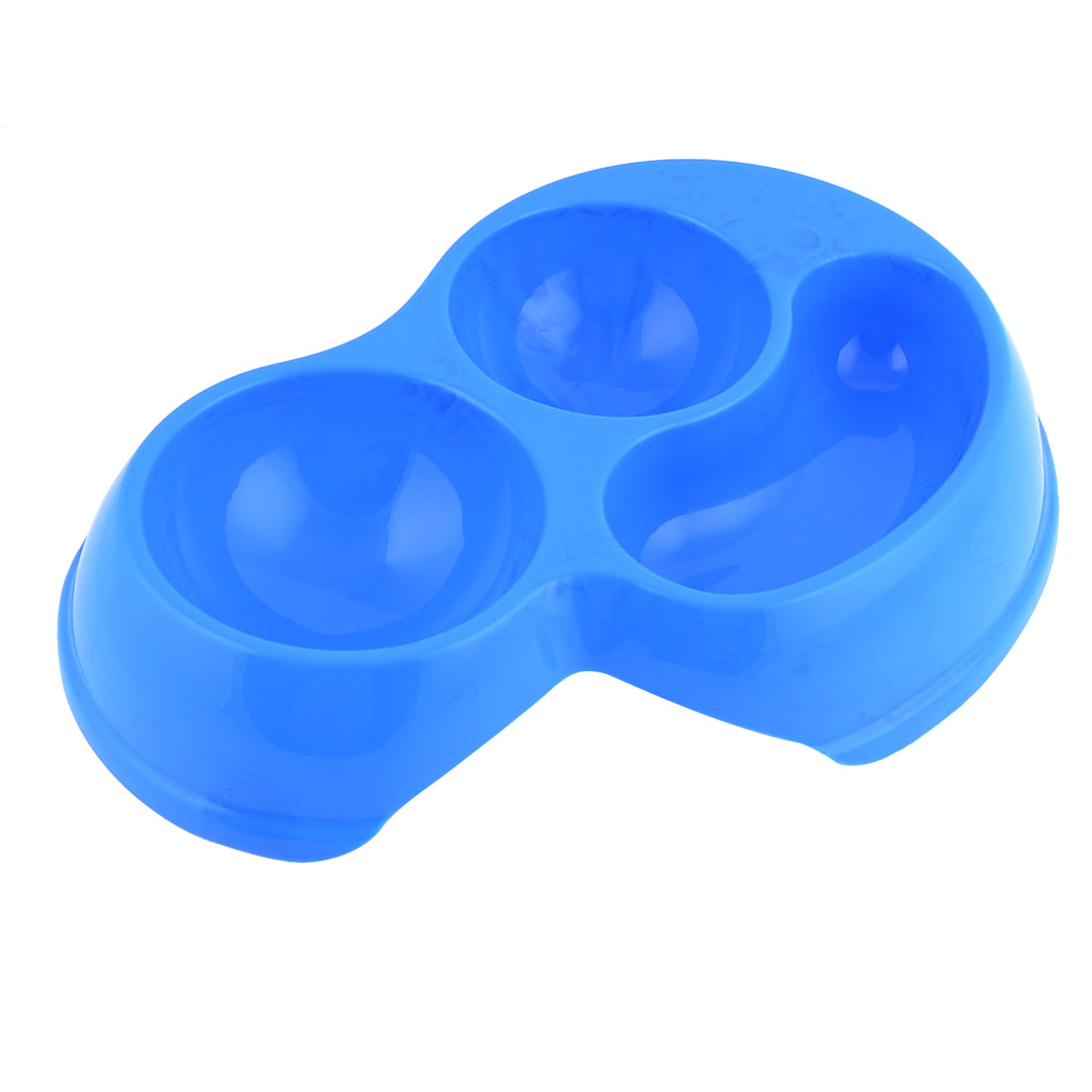 Plastic 3 in 1 Bowl Feeder Food Water Dish Blue for Pet Dog Cat
