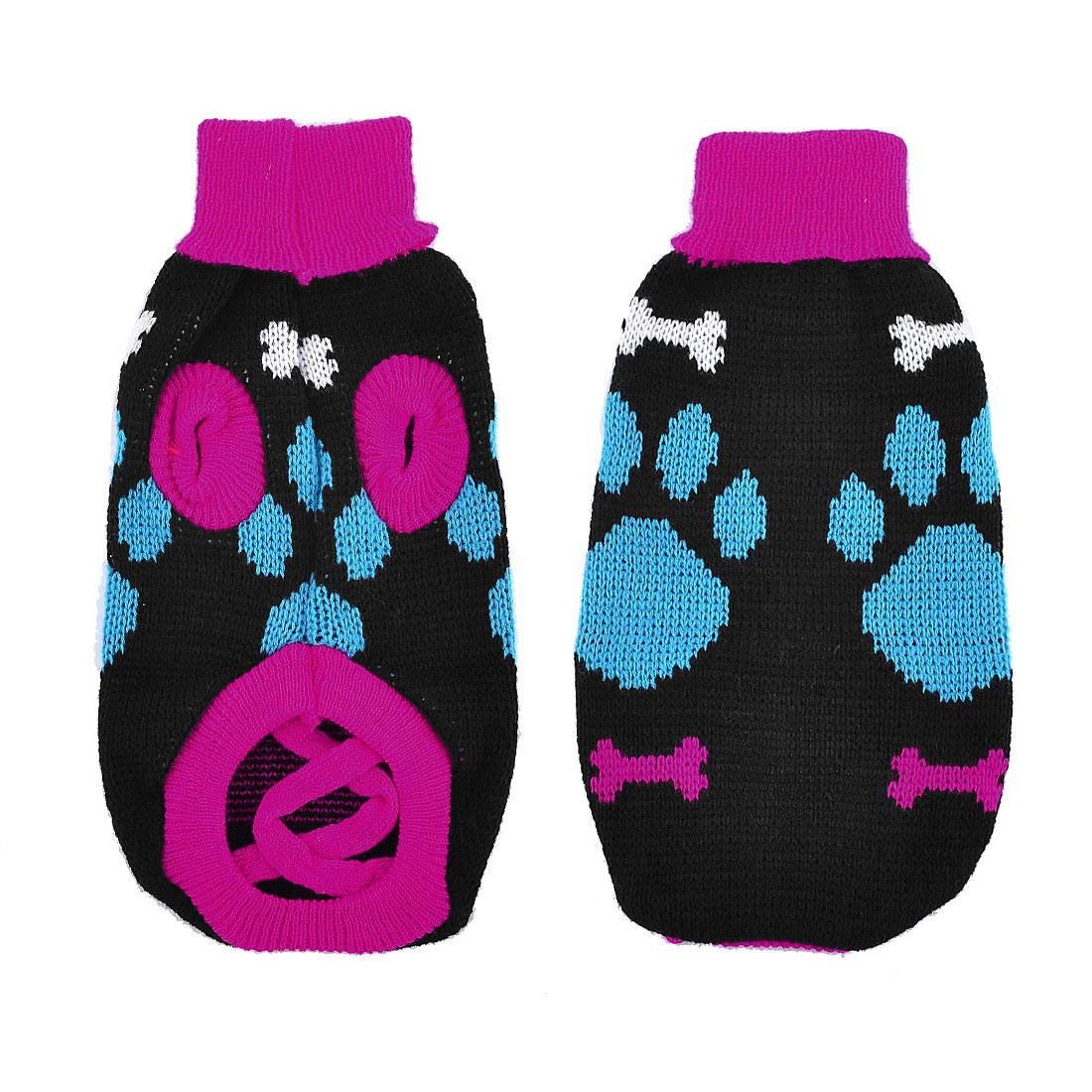Warm Blue Fuchsia Knitting Turtleneck Paw Print Pet Dog Sweater Coat Size XS