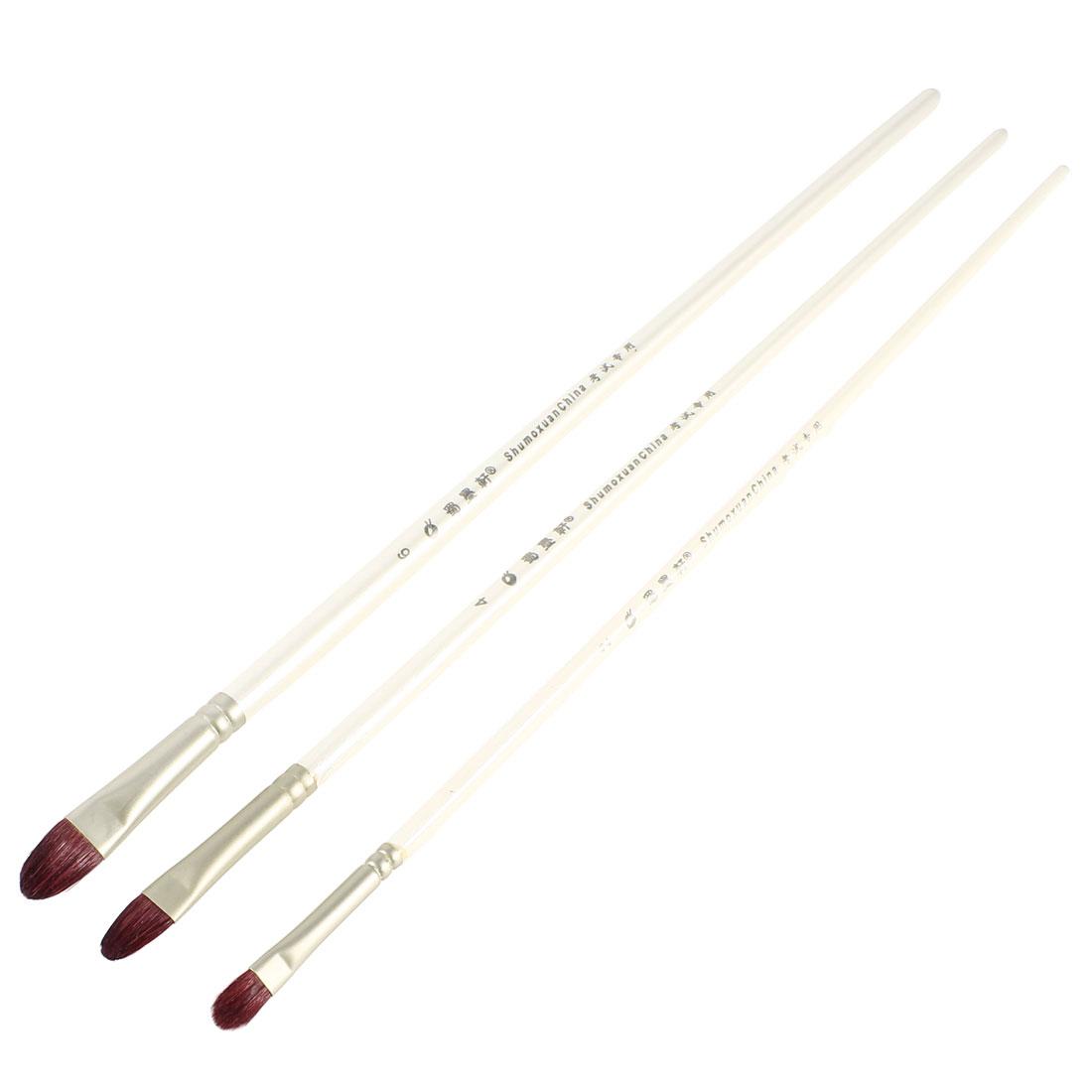 3 Pcs Size 2 4 6 White Plastic Handle Dark Brown Faux Fur Painting Brushes