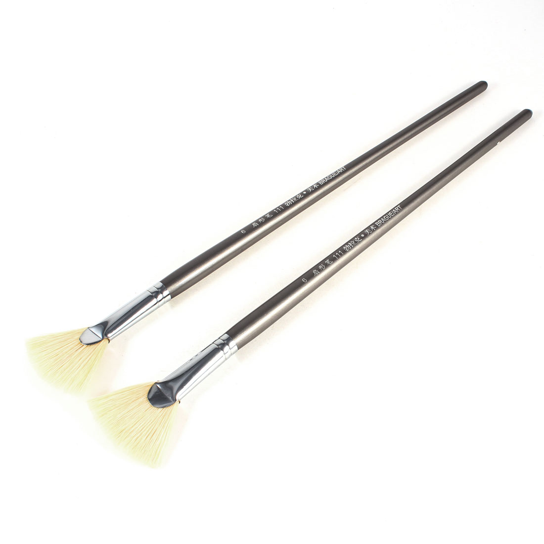 "2 Pcs Gray Plastic Handle 1.8"" Faux Fur Head Painting Tool Paint Brush"