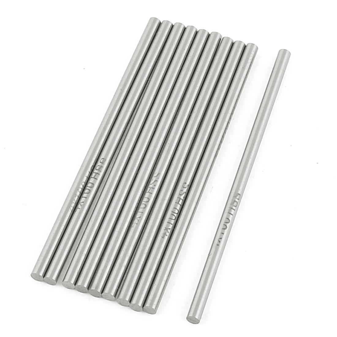 10 Pcs High Speed Steel Lathe Round Bar Rod Milling Cutter 4mm x 100mm