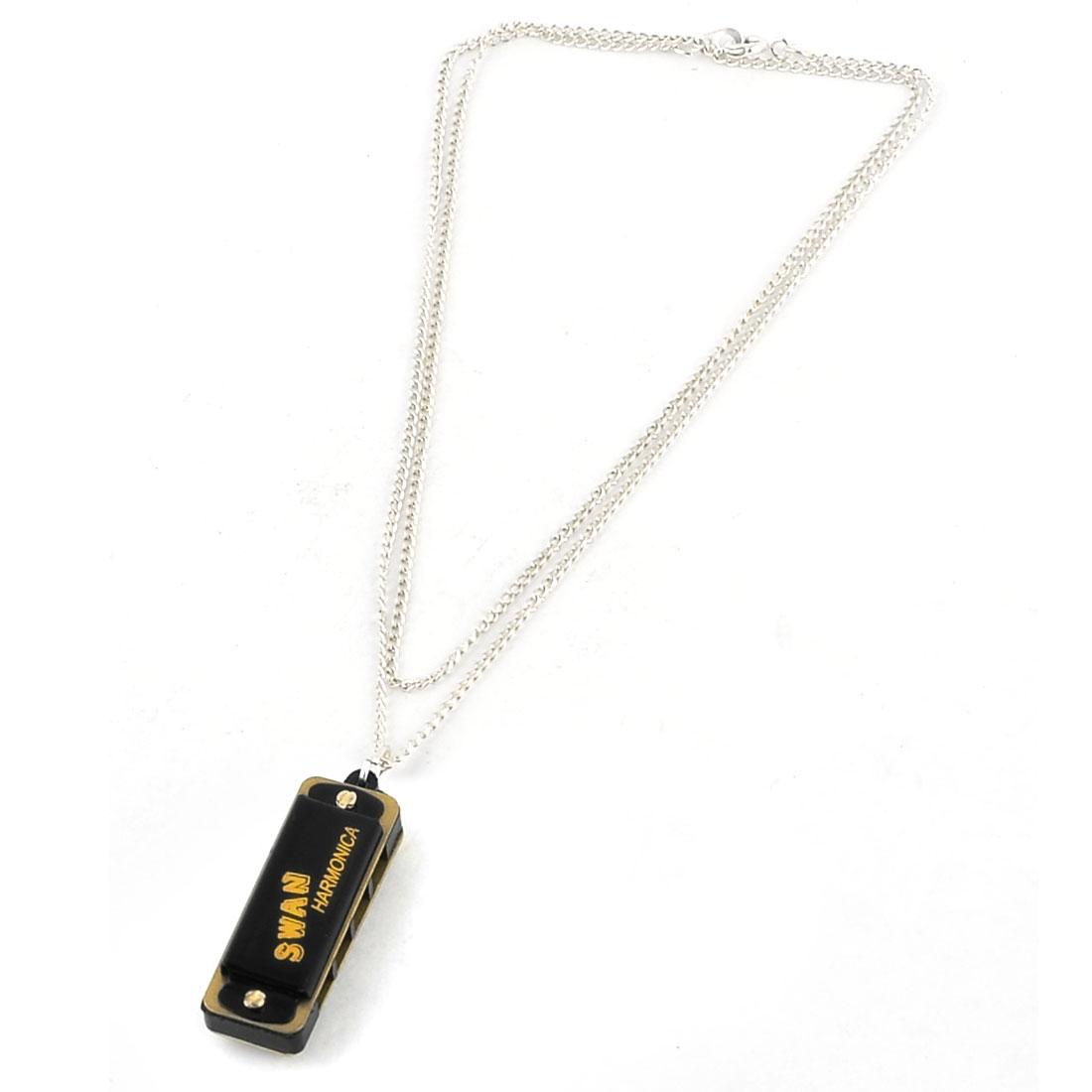 Lady Silver Tone Chain Black Harmonica Pendant Necklace