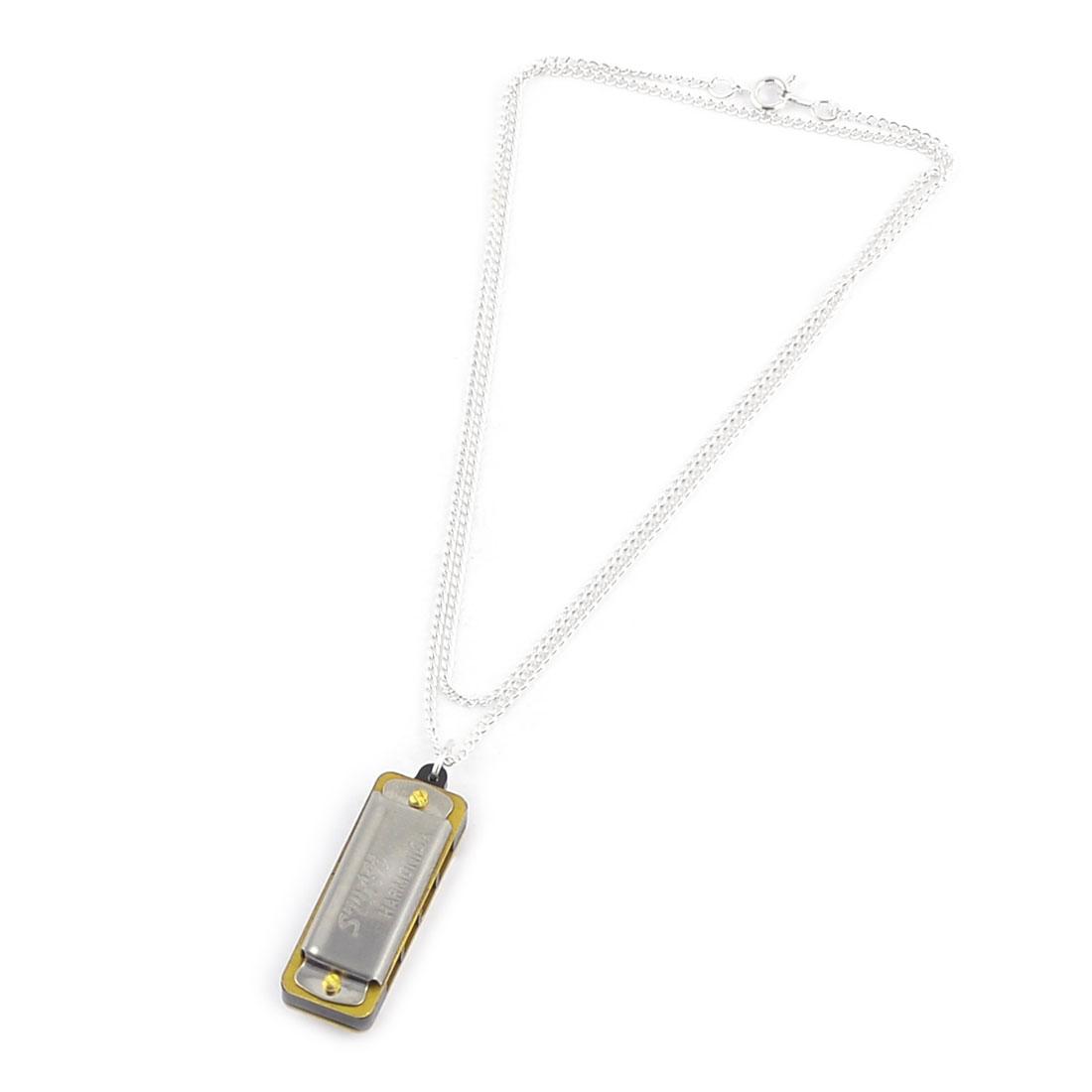 Lady Silver Tone Chain Mini Harmonica Pendant Necklace