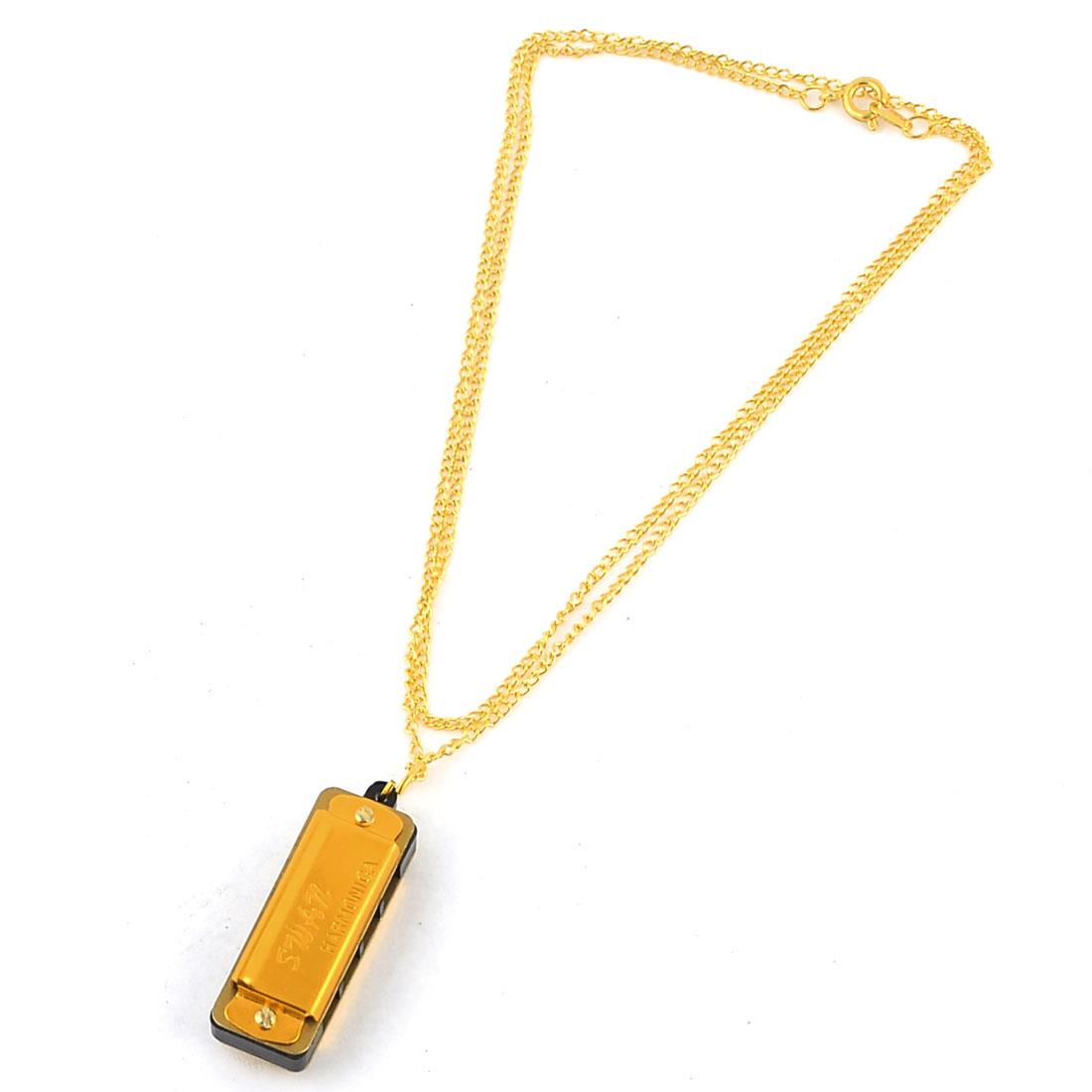 Woman Gold Tone Chain Mini Harmonica Pendant Necklace