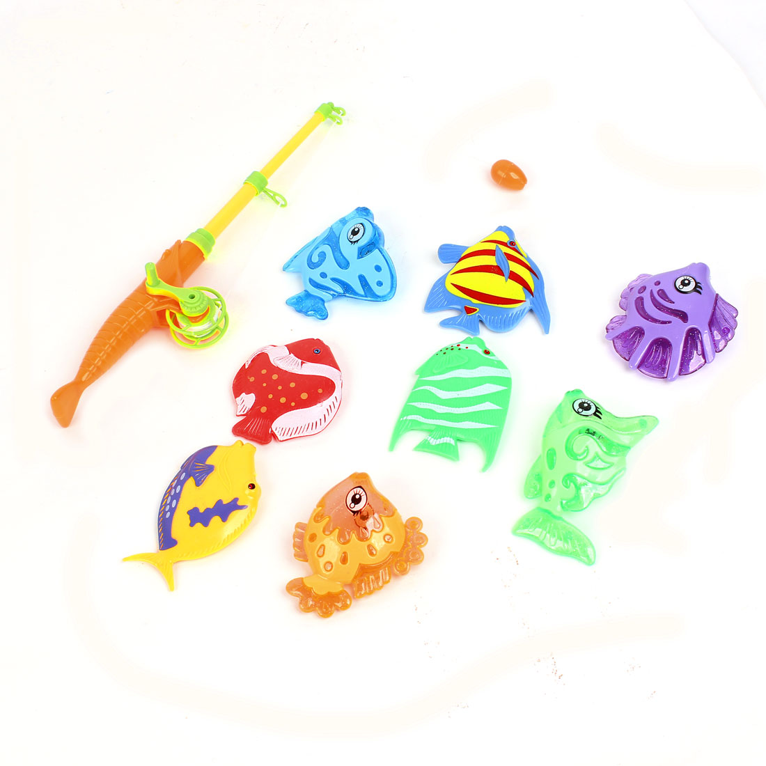 Kid Purple Blue Fishes Magnetic Telescopic Fish Rod Fishing Toy 9 in 1