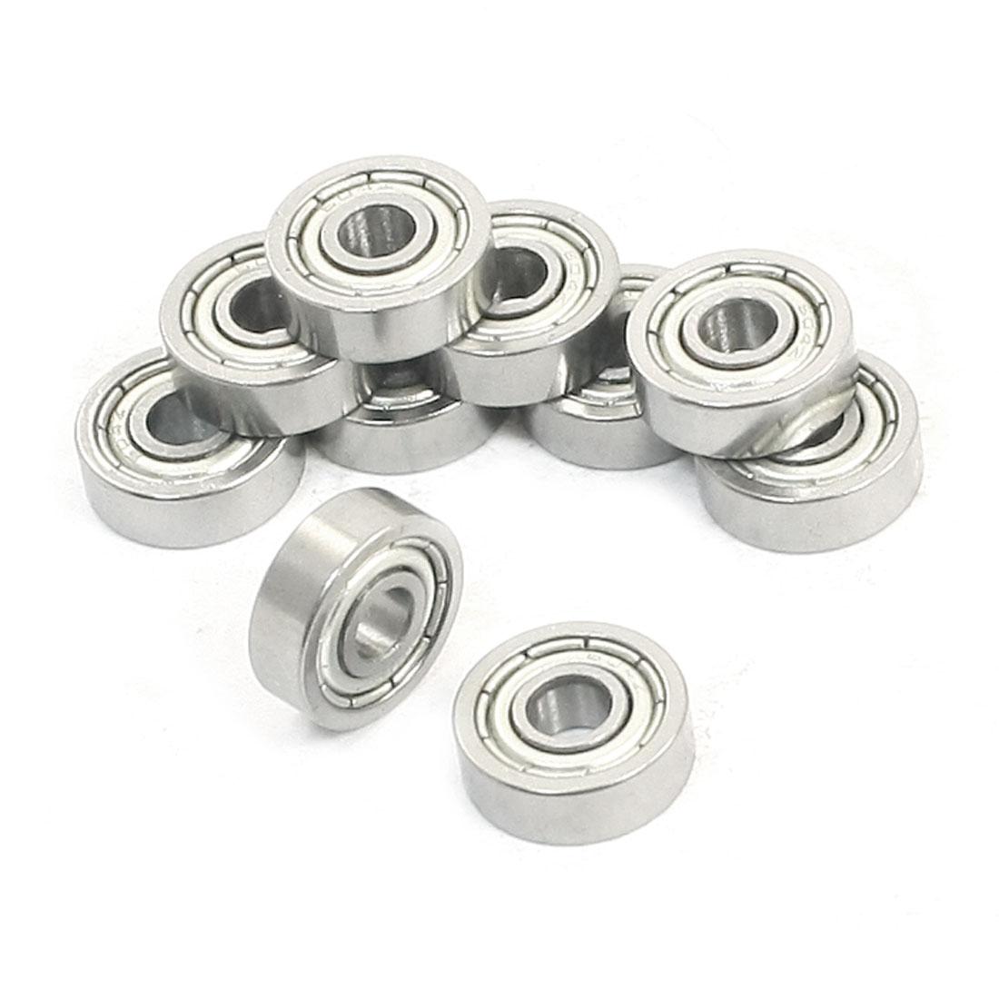 10 Pcs 4 x 12 x 4mm Double Shield Deep Groove Ball Bearings 604Z