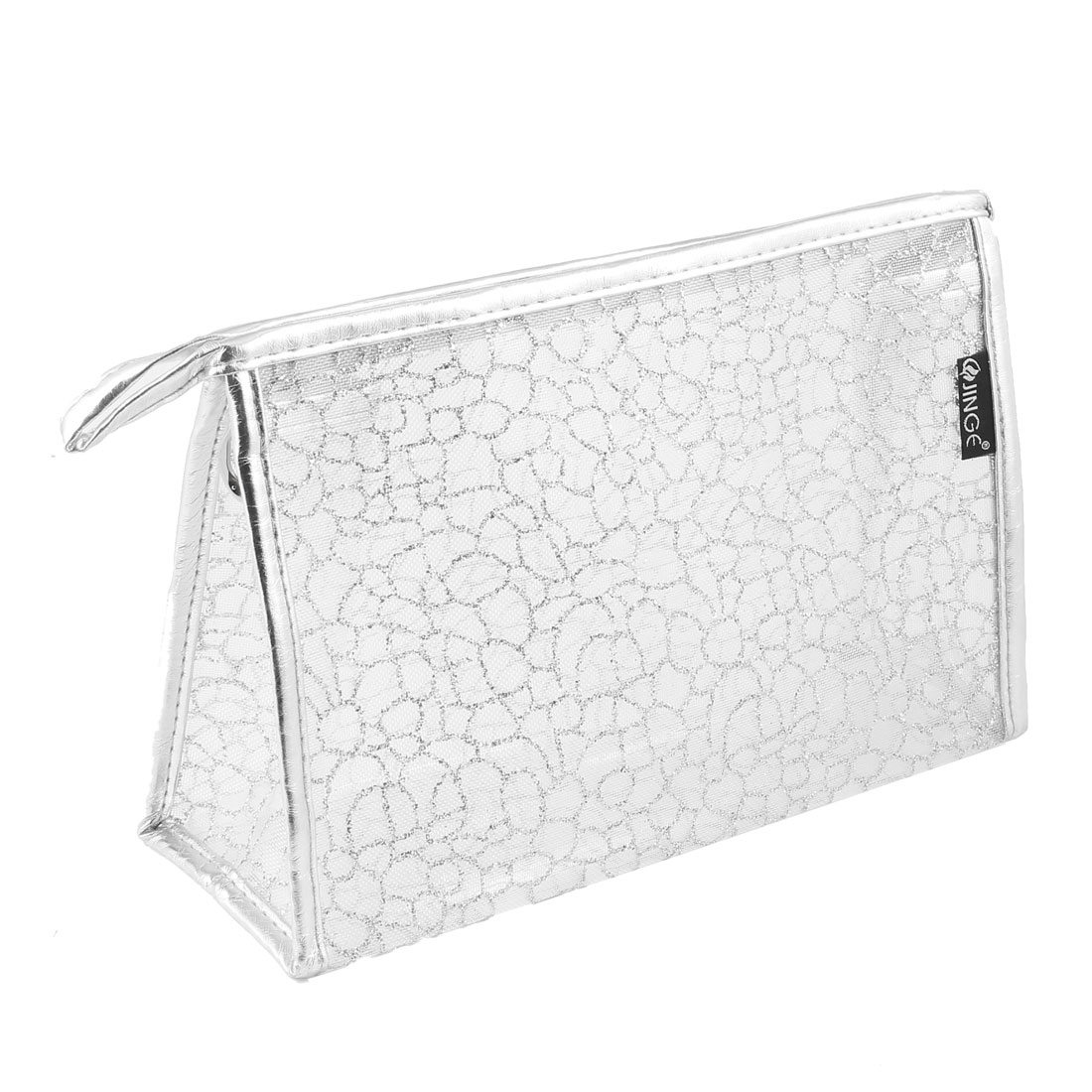 Silver Tone Meshy Exterior Zippered PVC Nylon Cosmetic Makeup Bag Case Holder Organizer