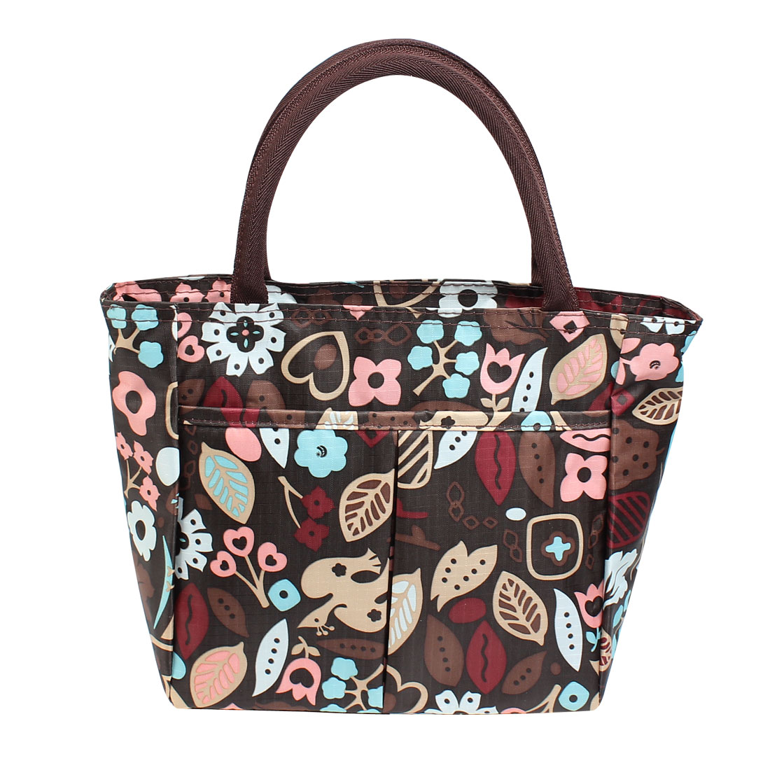 Blue Beige Pink Bird Leaves Pattern Zippered Shopping Handbag Brown
