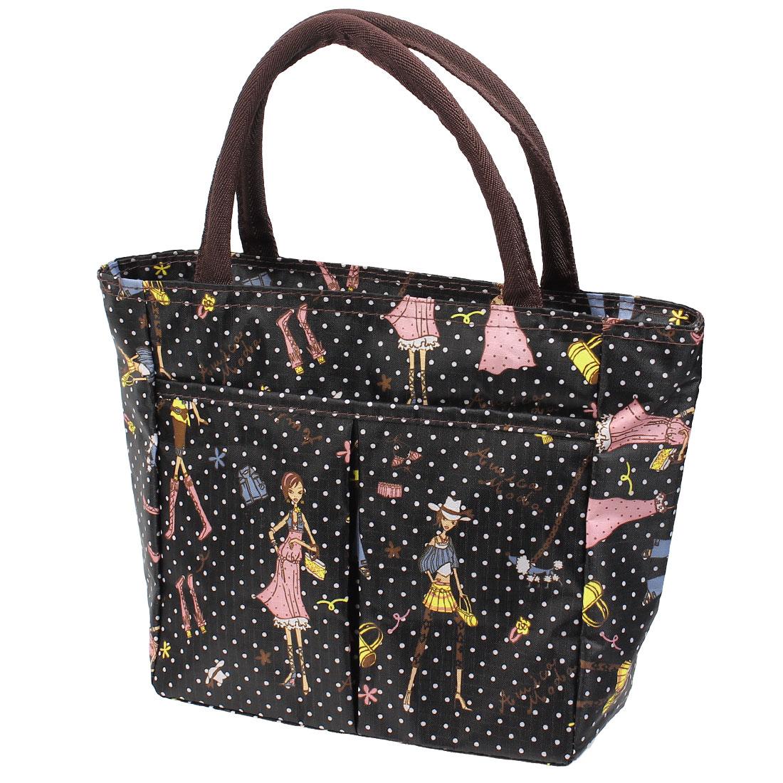 Portable Canvas Brown Zip up Cartoon Pattern Shopping Handbag Bag
