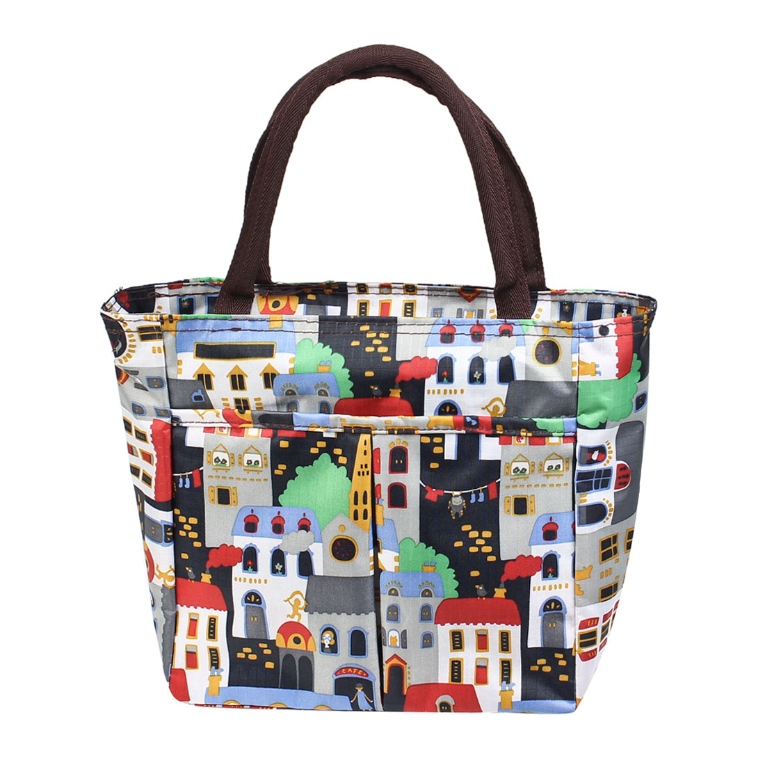 Portable Blue White Green Red House Pattern Canvas Shopping Handbag