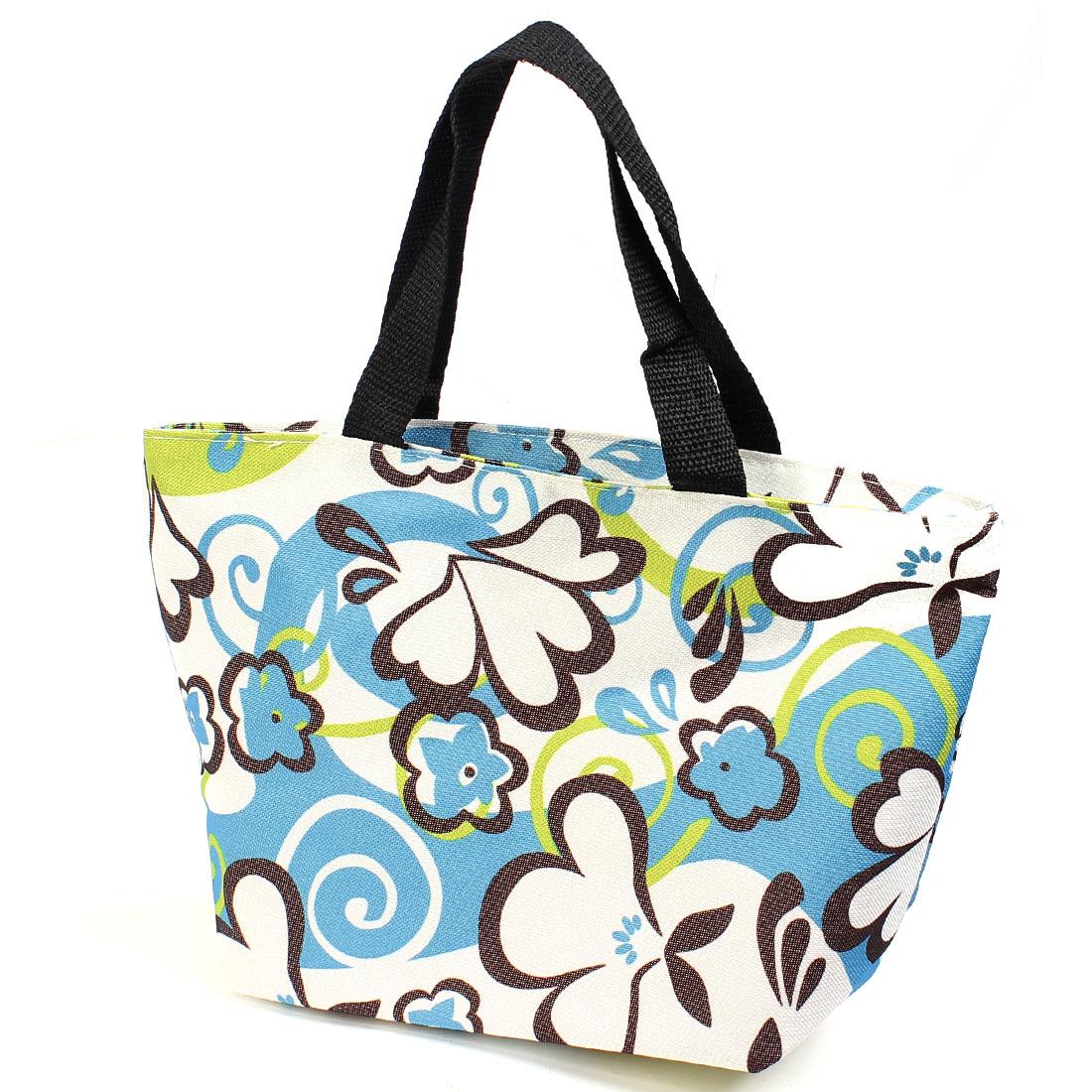 Portable White Blue Florals Printed Black Totes Shopping Bag Handbag