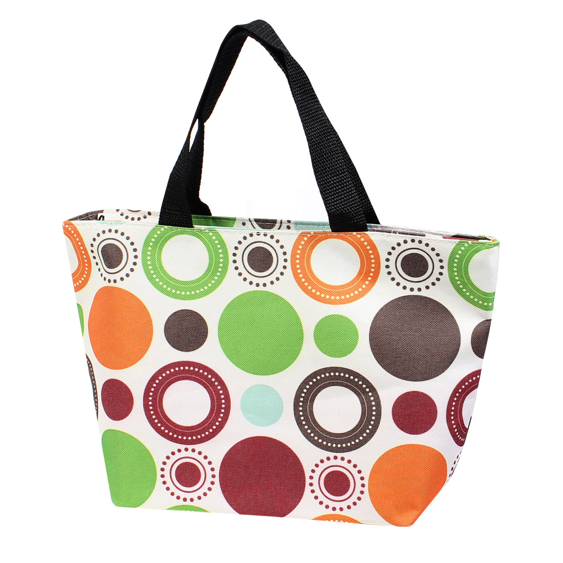 Orange Green Circle Dots Prints Waterproof Shopping Bag Handbag