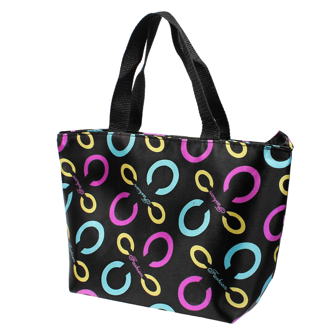 Portable Purple Blue C Printed Zippered Shaopping Bag Handbag Black