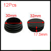 12 Pcs Black Plastic 32mm Dia Round Tubing Tube Insert Caps Covers