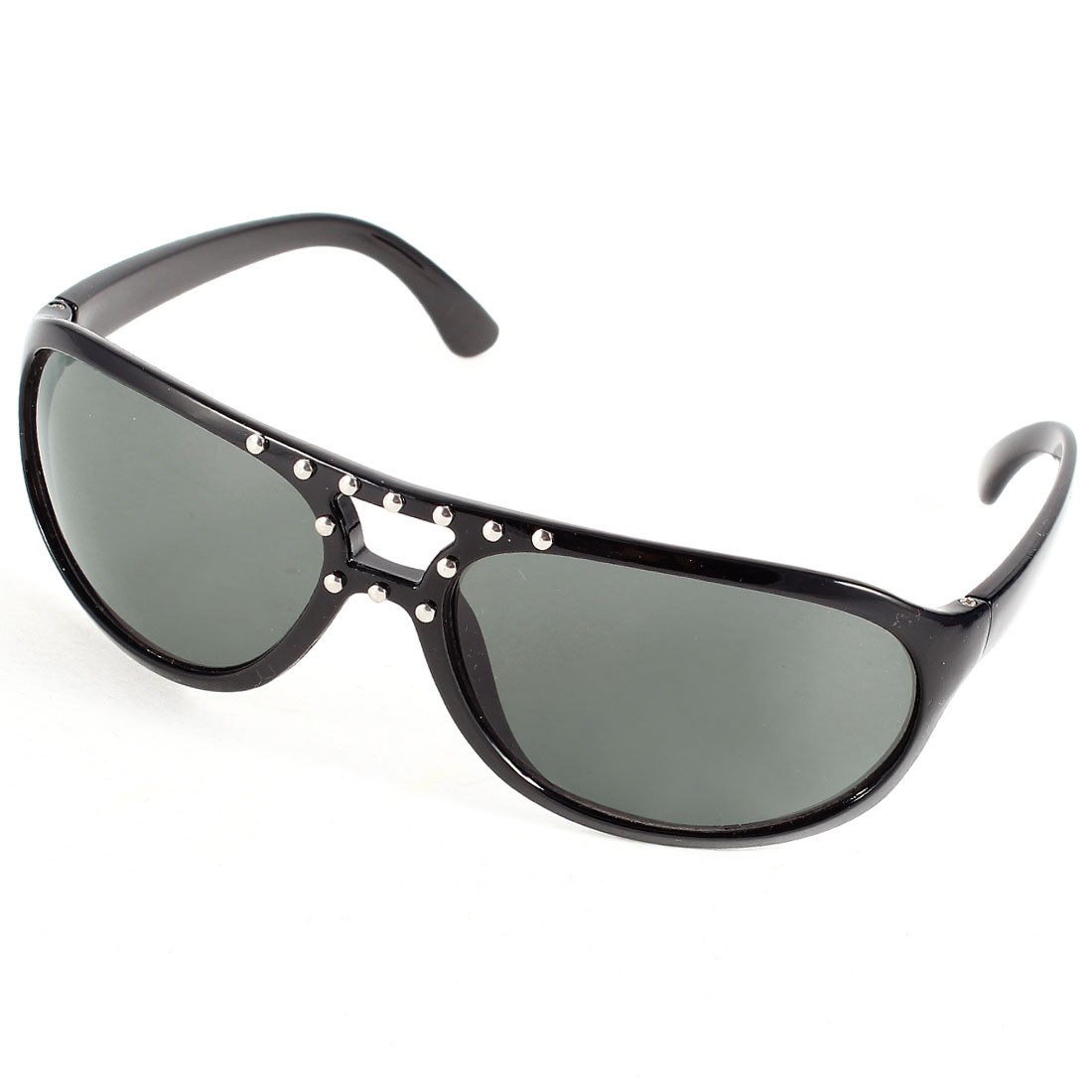 Rhinestuds Decor Plastic Full Frame Black Lens Sunglasses Glasses for Men