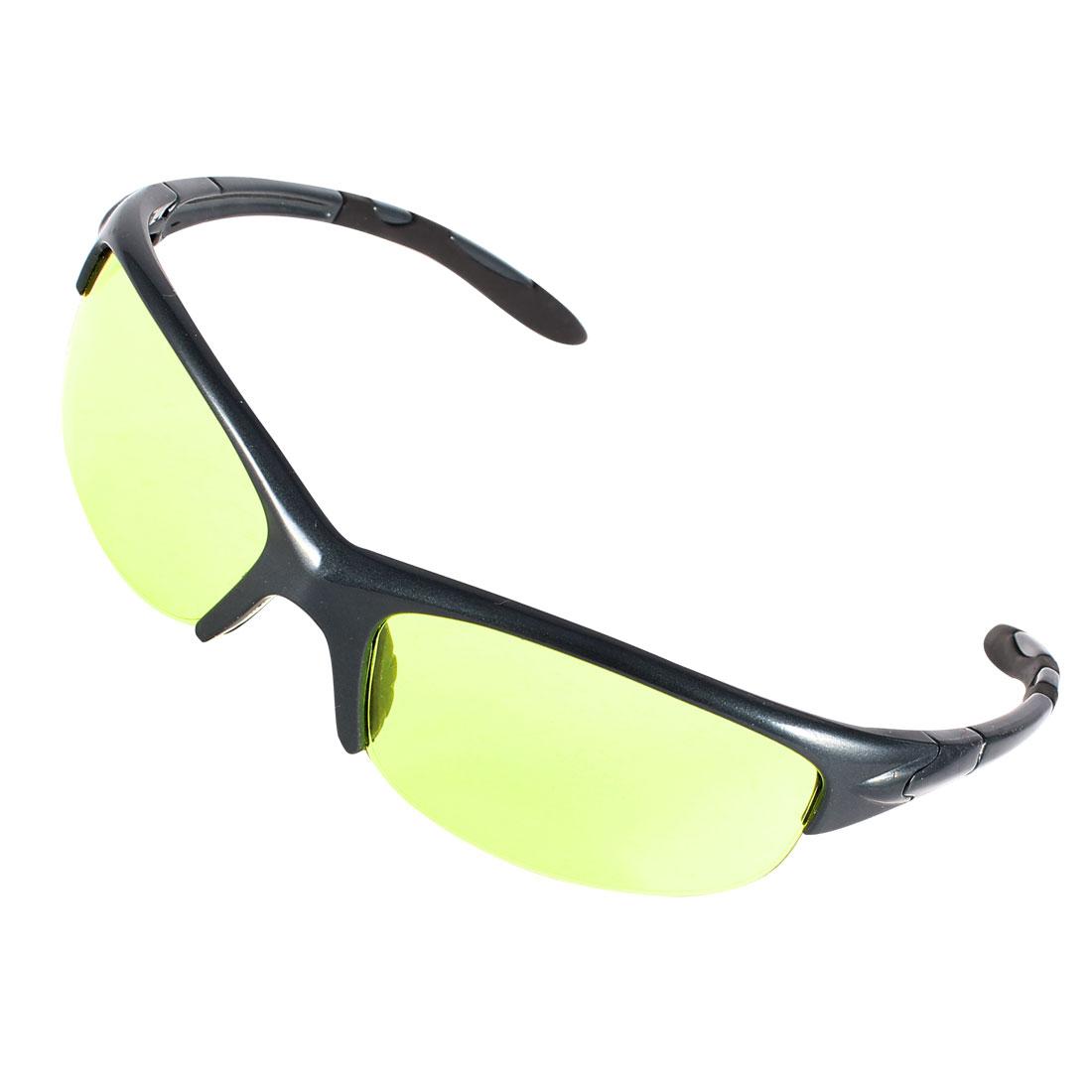 Dark Blue Plastic Half Frame Yellow Green Lens Sunglasses Glasses for Adult