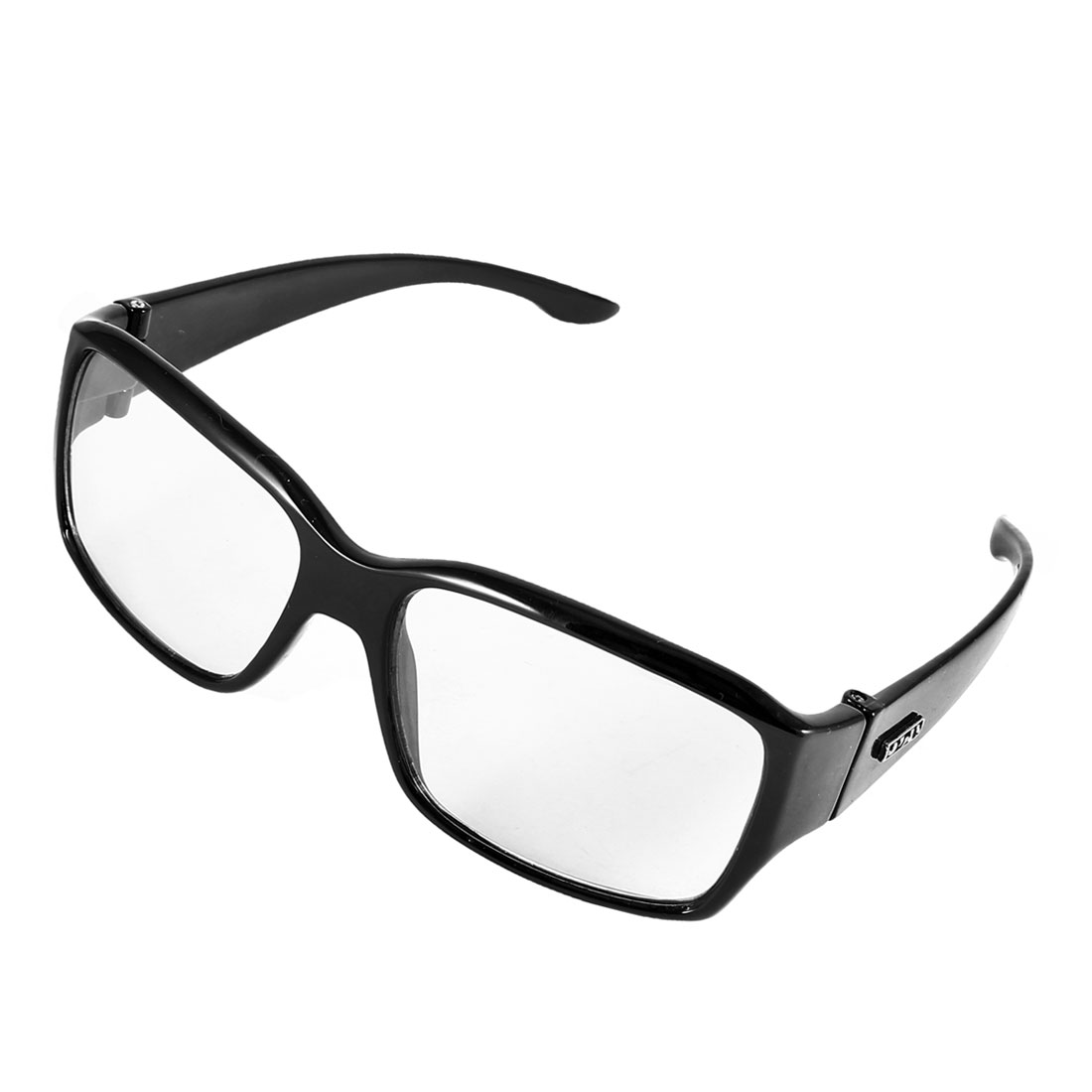 Black Plastic Full Frame Light Gray Lens Plain Glasses Eyeglasses for Men