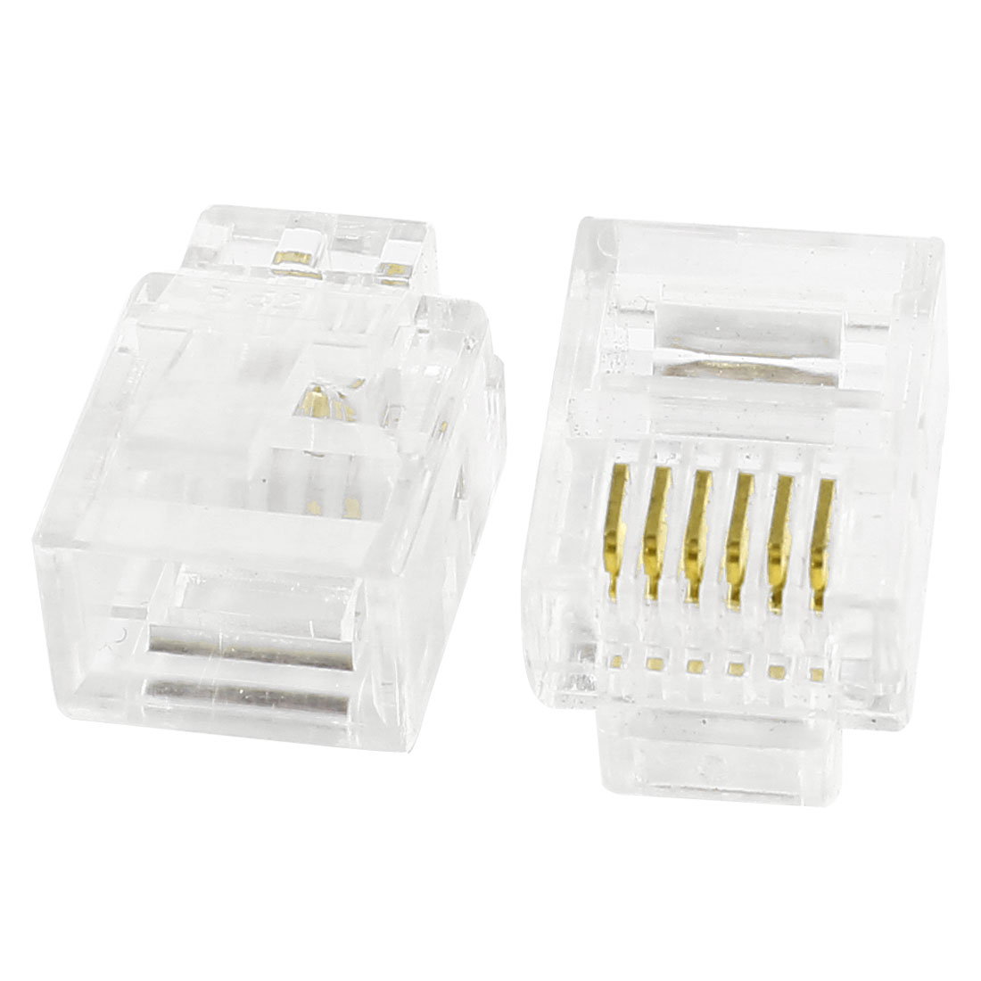 2 Pcs 6P6C RJ11 Jack Connector Clear for Telephone Cable Wire