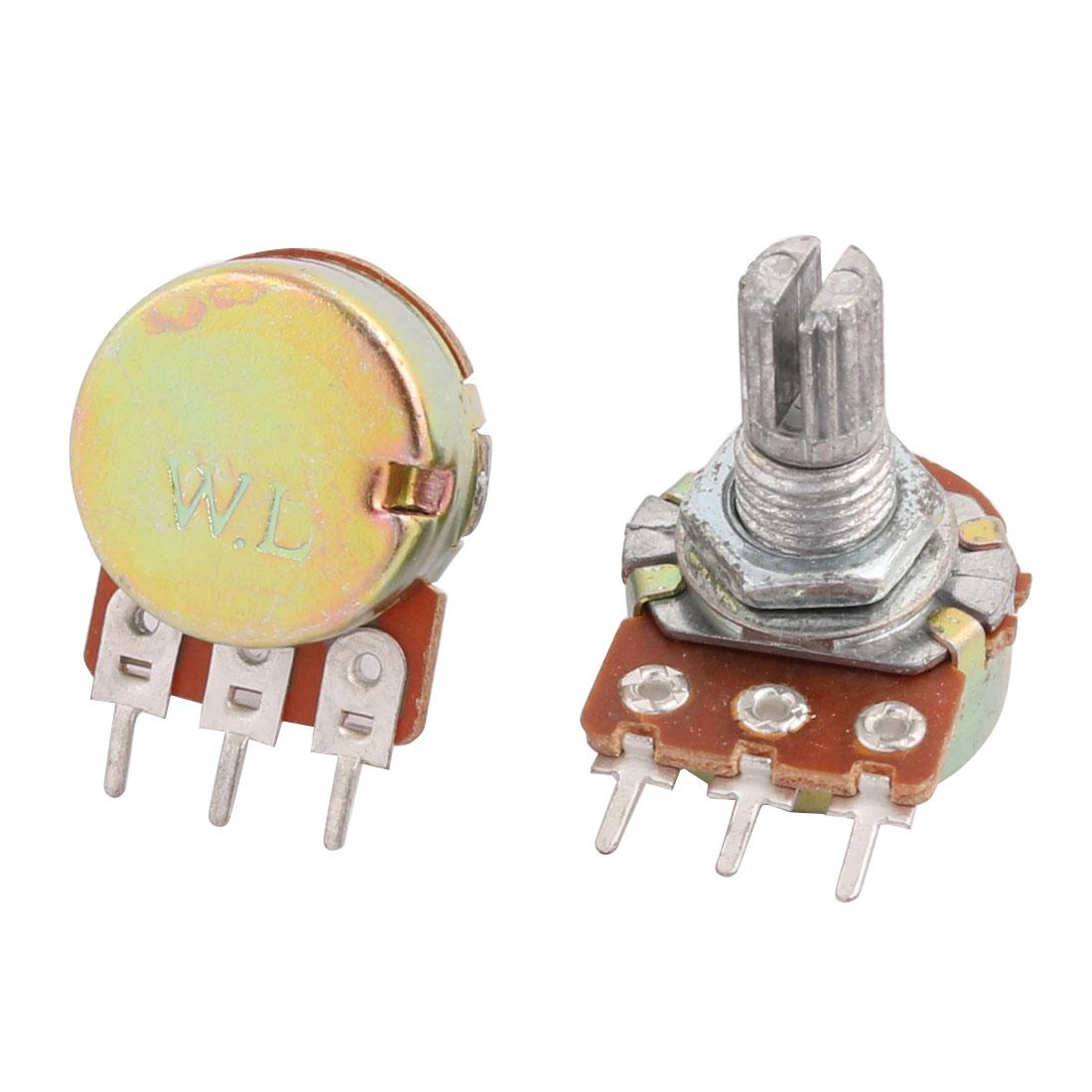 2 Pcs B50K 50K Ohm 3 Terminals Single Linear Rotary Taper Potentiometers