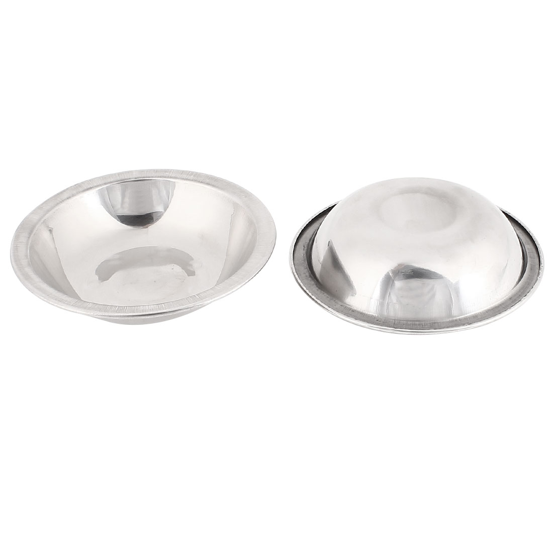 2 Pcs Stainless Steel Round Shaped Mini Peanut Butter Holder Dish Silver Tone