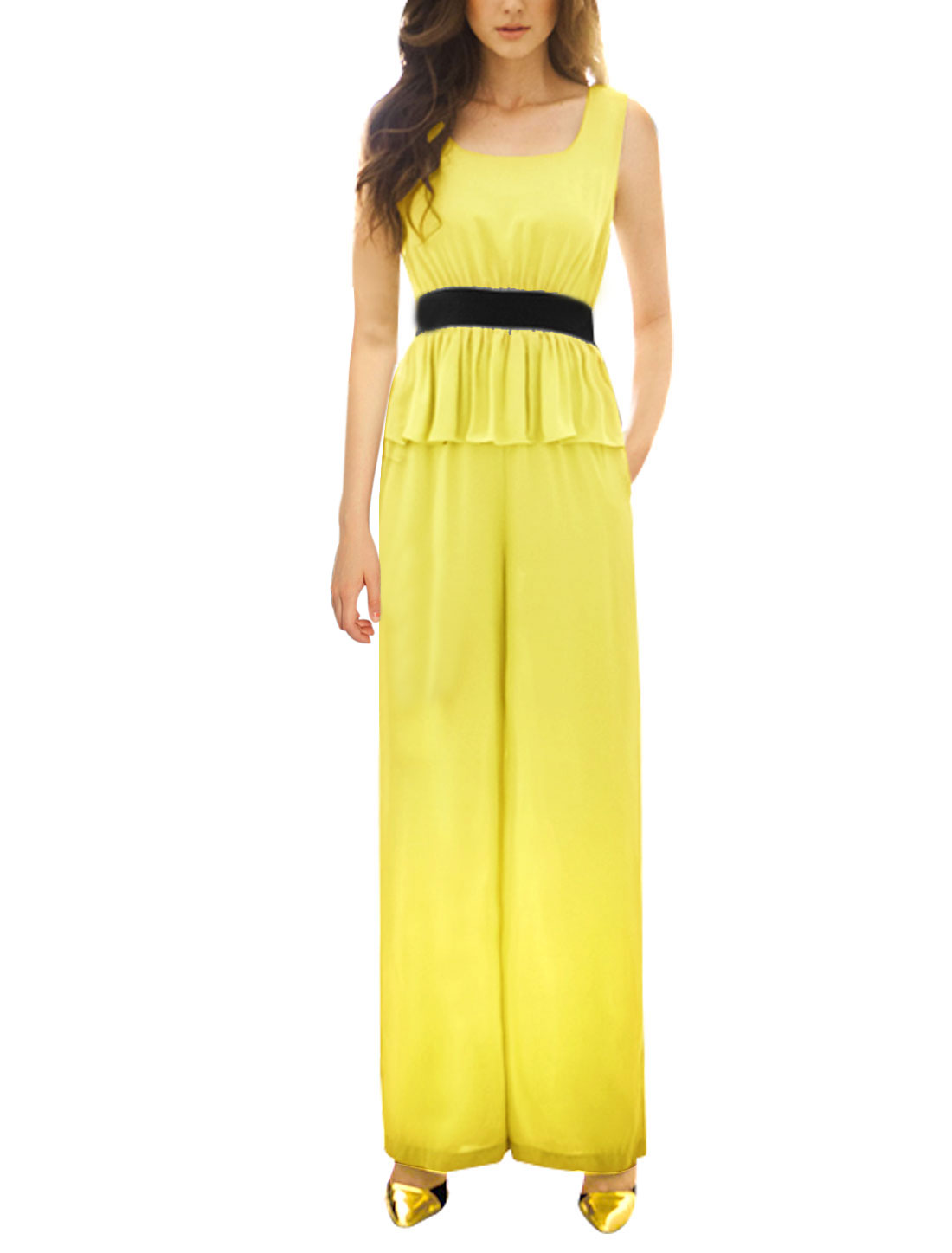 Ladies Sleeveless Round Neck Elatic Waist Full Length Summer Jumpsuit Yellow XS