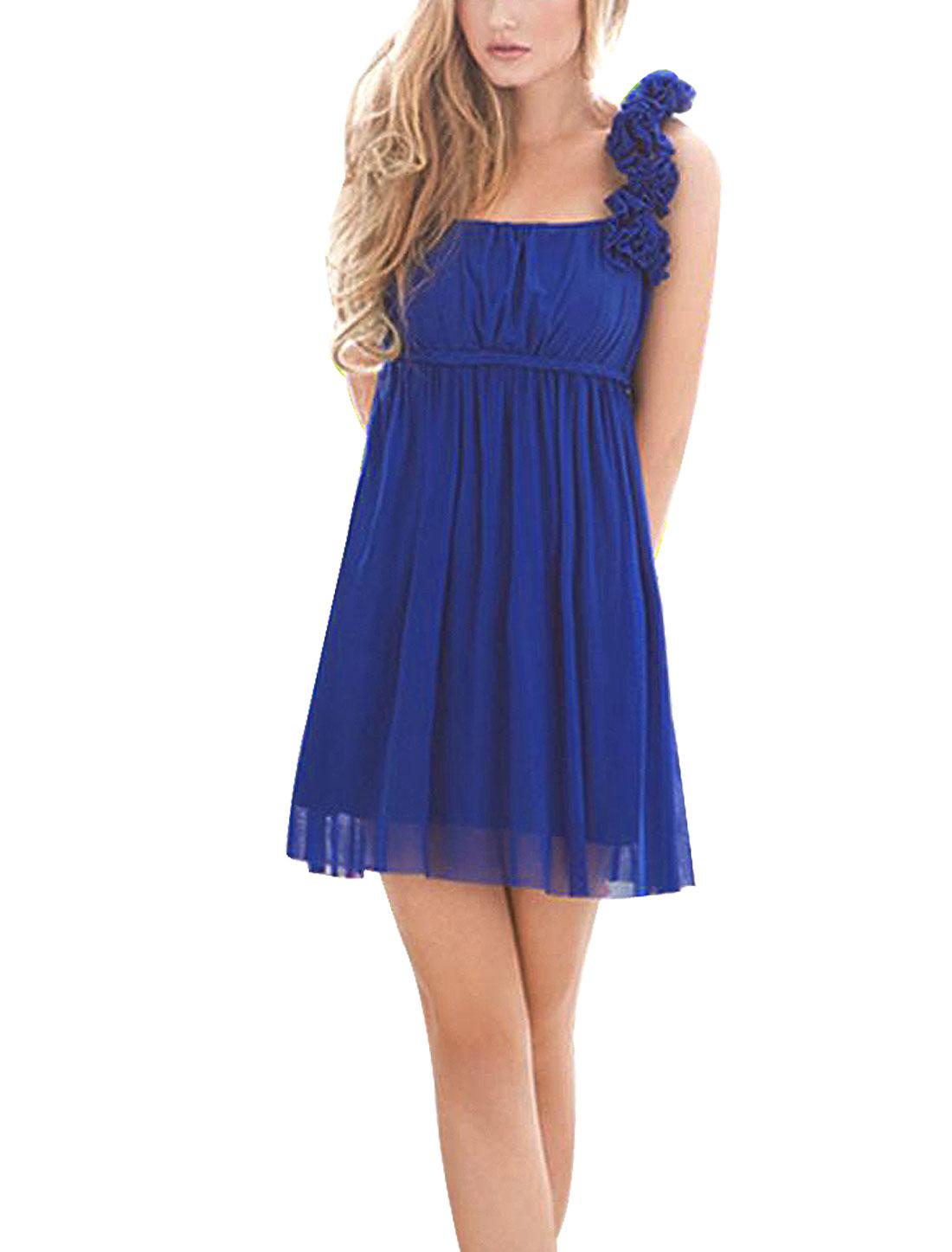Women Floral Detail Off Shoulder Sleeveless Padded Bust Buister Dress Dark Blue XS