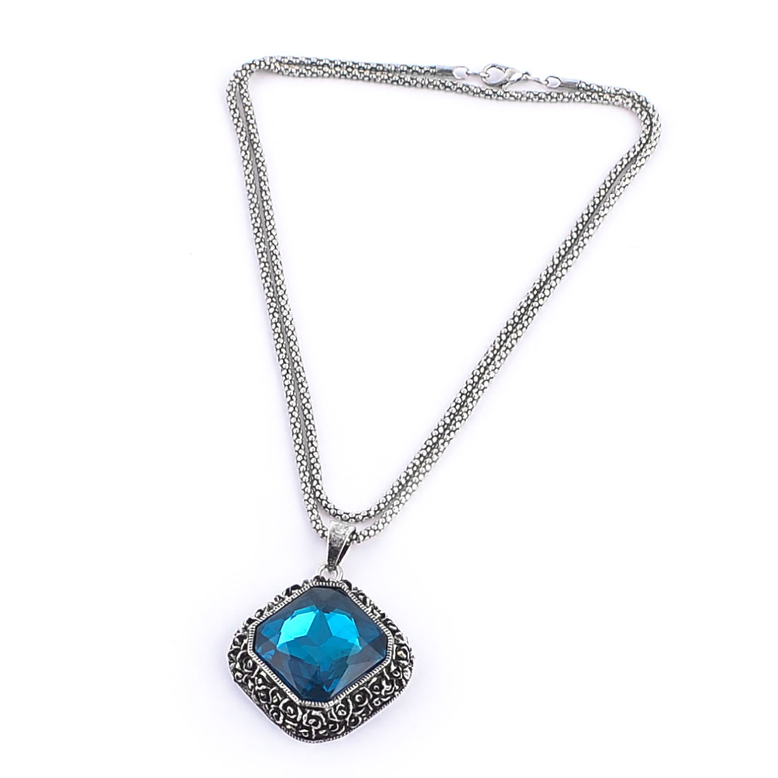 Lobster Clasp Teal Blue Rhombus Design Faux Crystal Decor Sweater Necklace