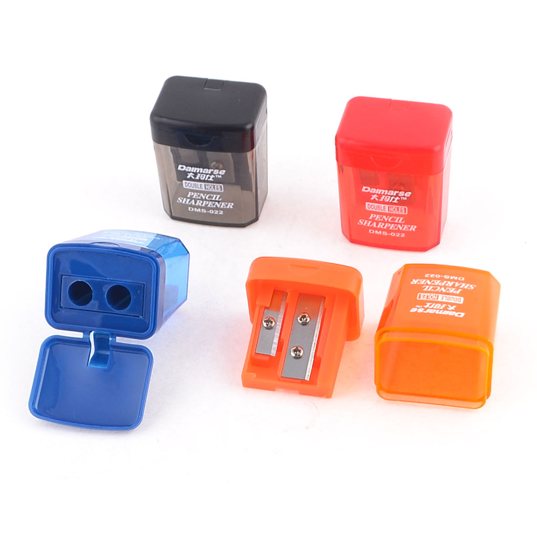 Students Assorted Colors Double Holes Sharp Cutter Pencil Sharpeners 4pcs