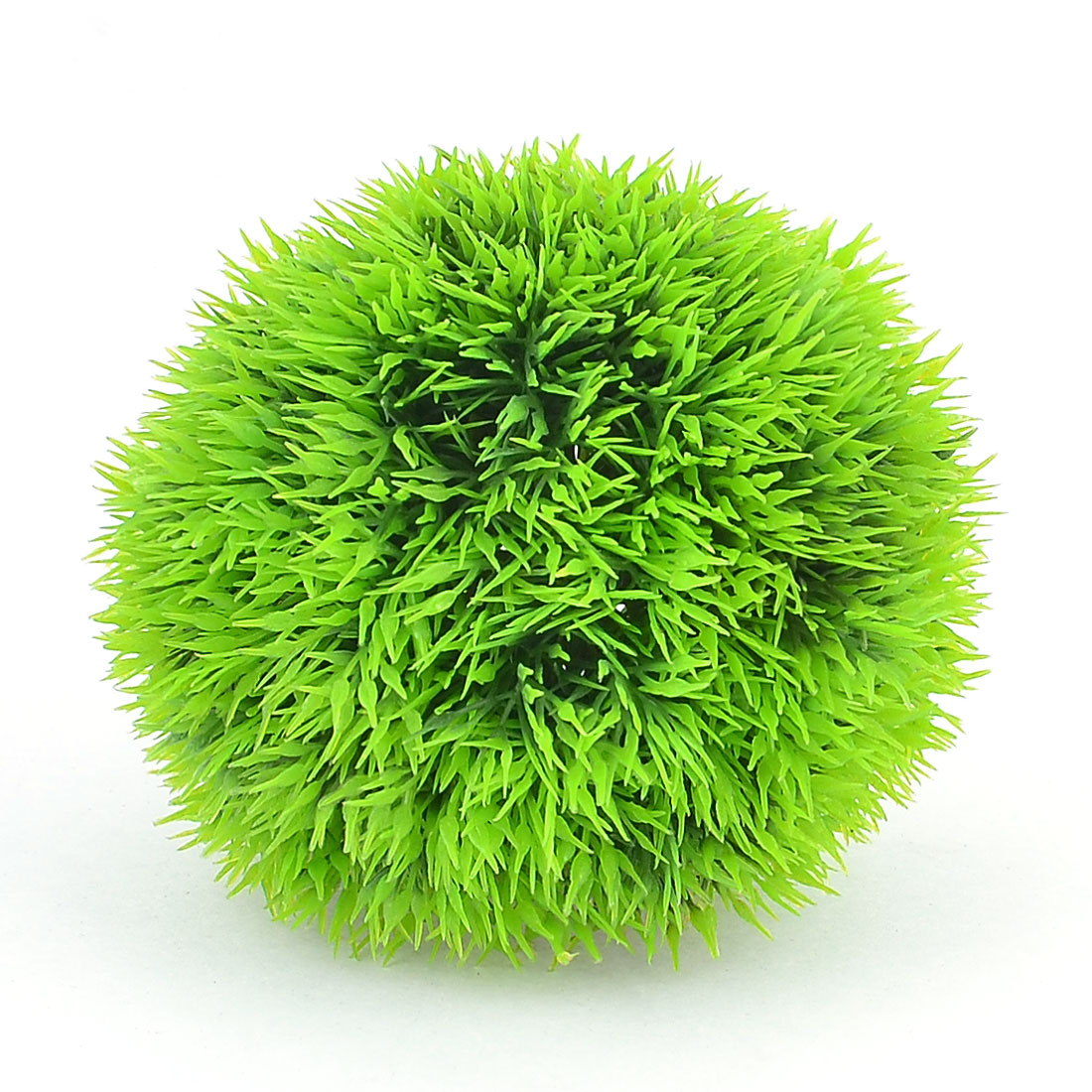 "Plastic Ball Shape Artificial Grass Decor Green 3.5"" Hight for Aquarium"