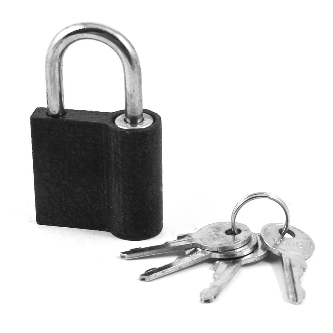 "Home Door Cabinet Black Security Lock Padlock 2.4"" Long w 4 Keys"
